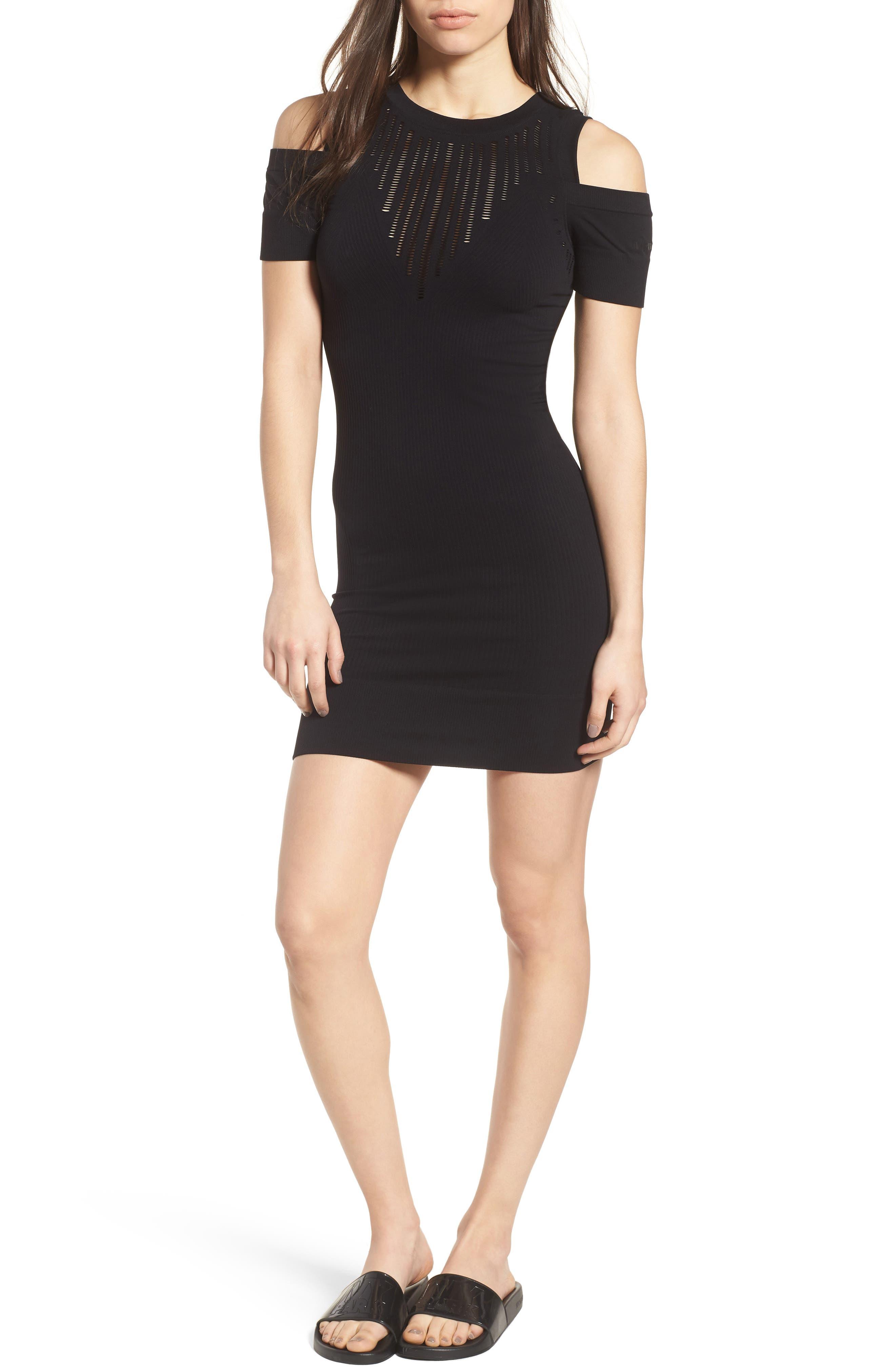 Pointelle Cold Shoulder Dress,                         Main,                         color, Black