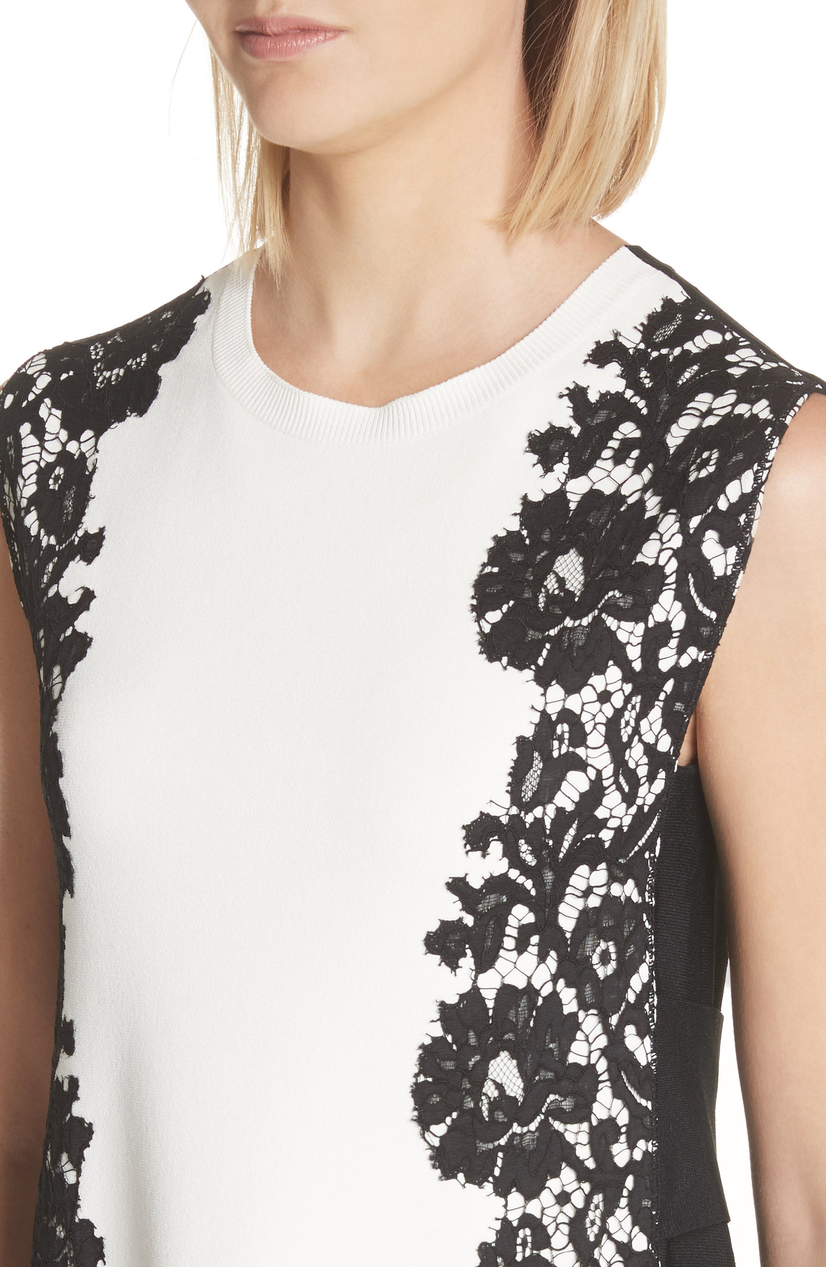 Lace Side Contrast Shift Dress,                             Alternate thumbnail 4, color,                             Ivory/ Black