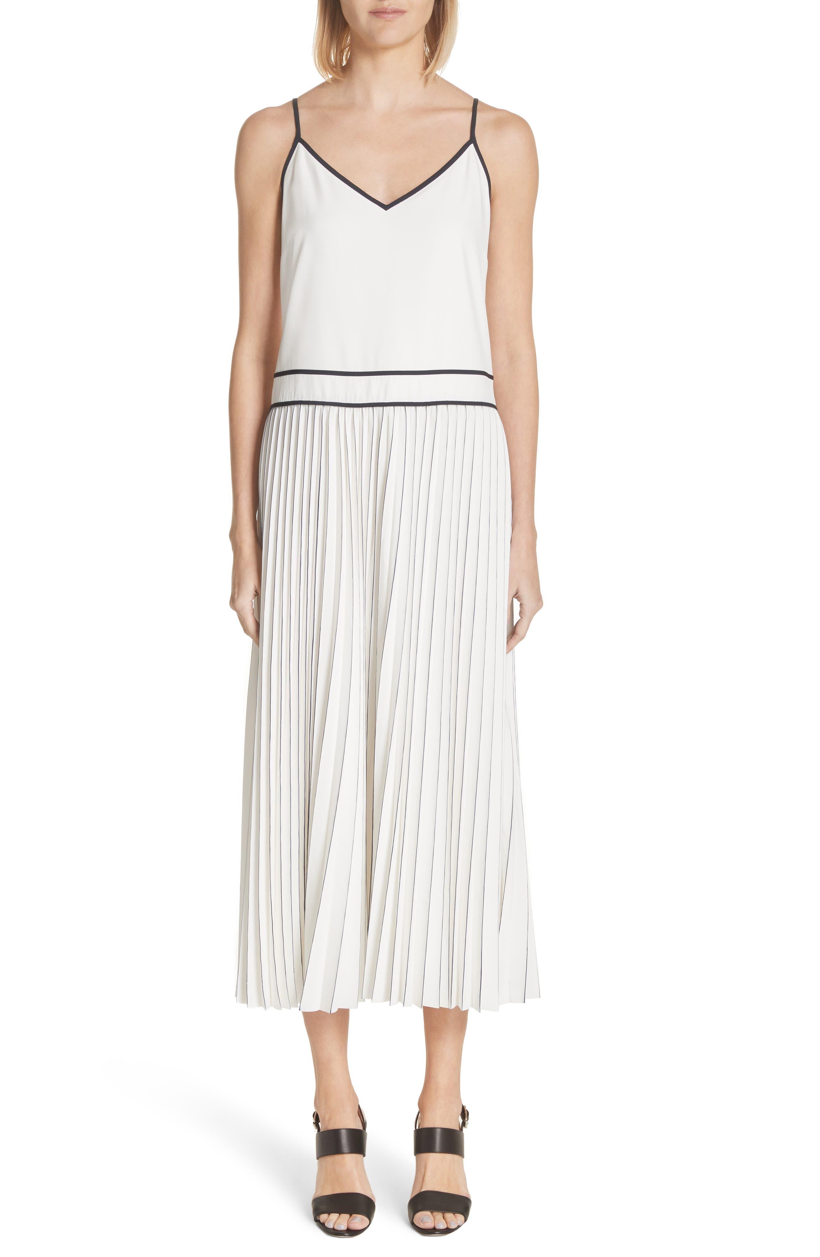 Silk Pleated Skirt Midi Dress,                         Main,                         color, Cloud Multi