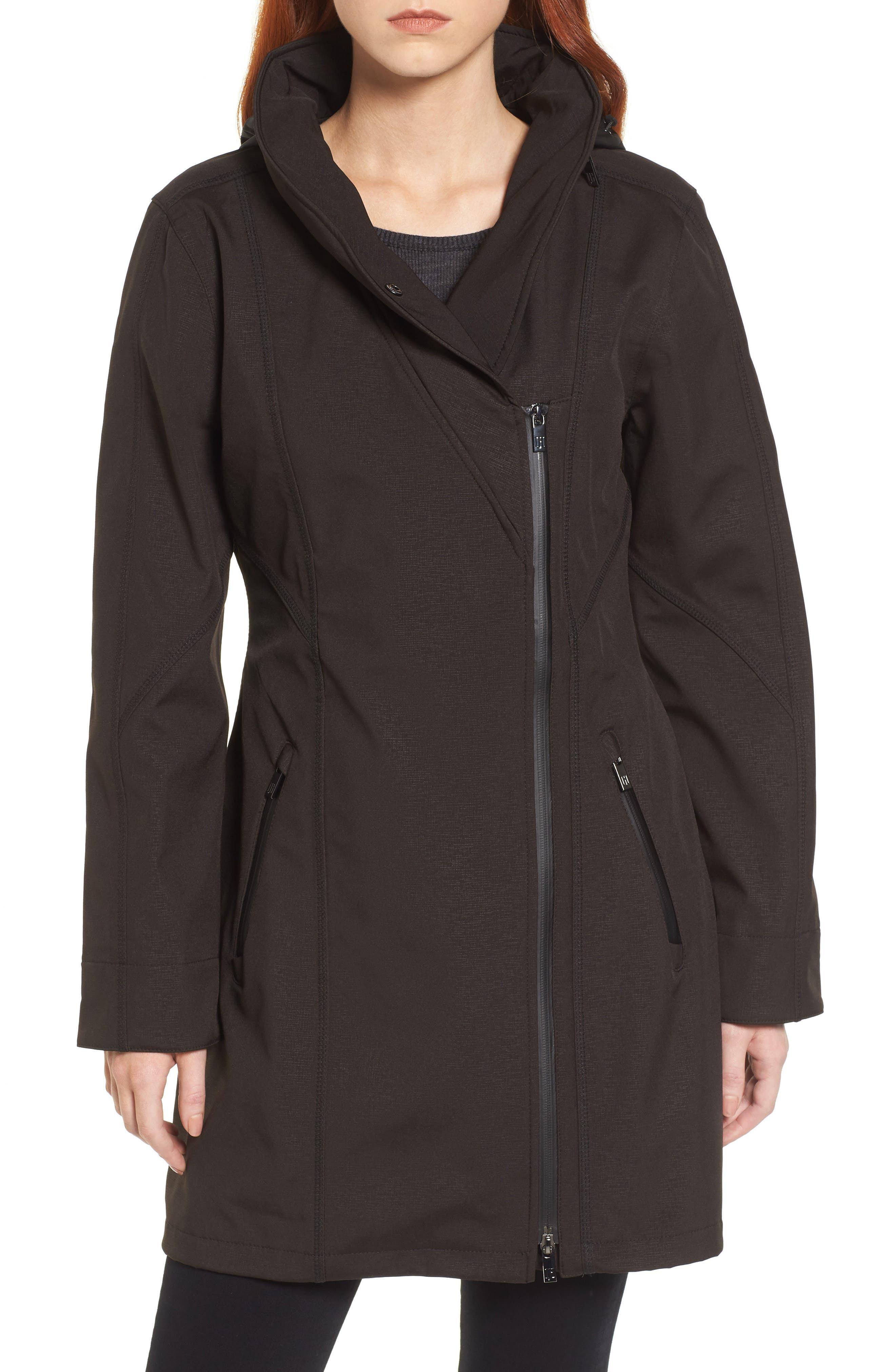 Hornbaek Soft Shell Raincoat,                             Main thumbnail 1, color,                             Black