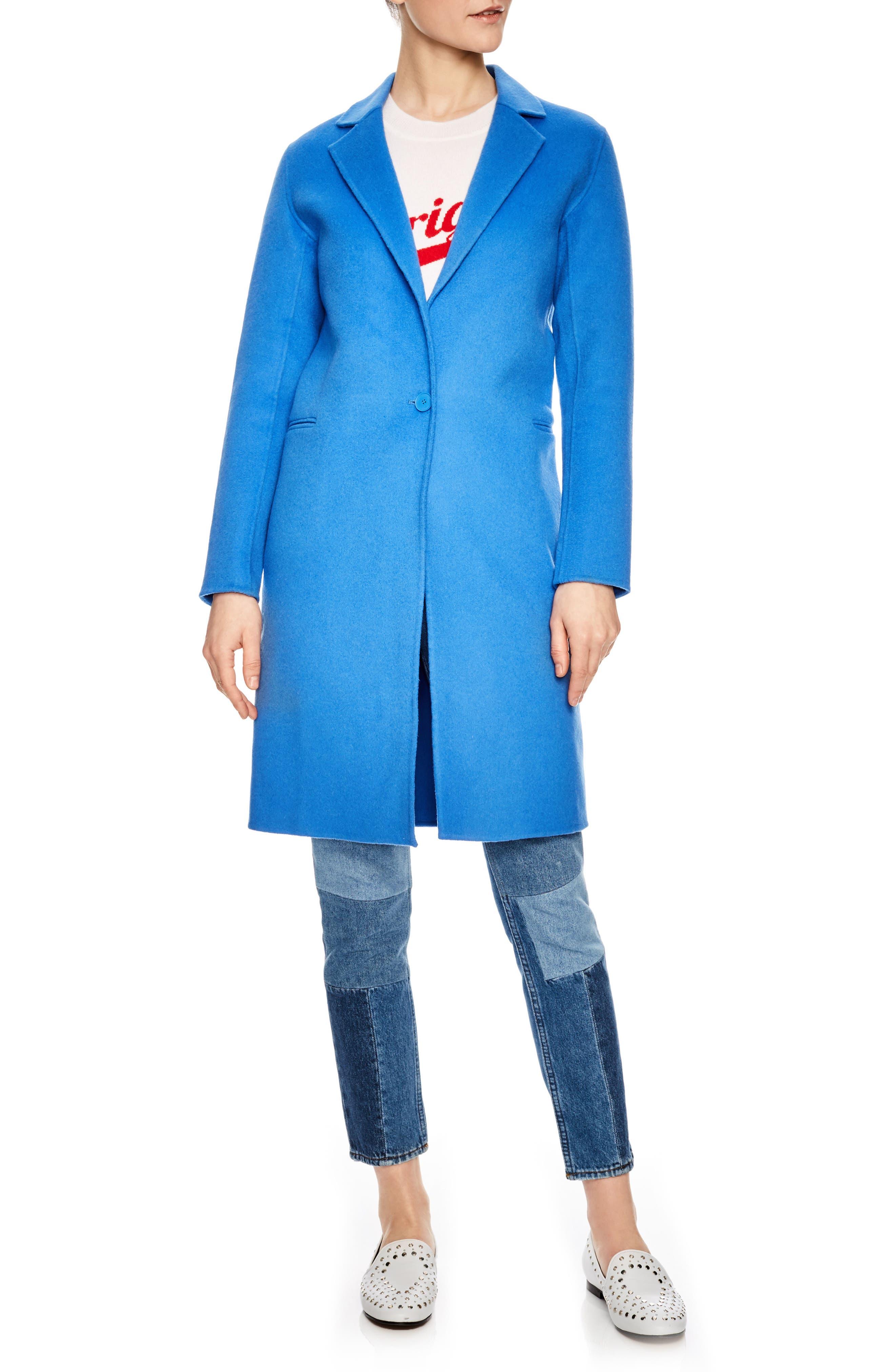 sandro Bleu Cerulean Wool Walking Coat