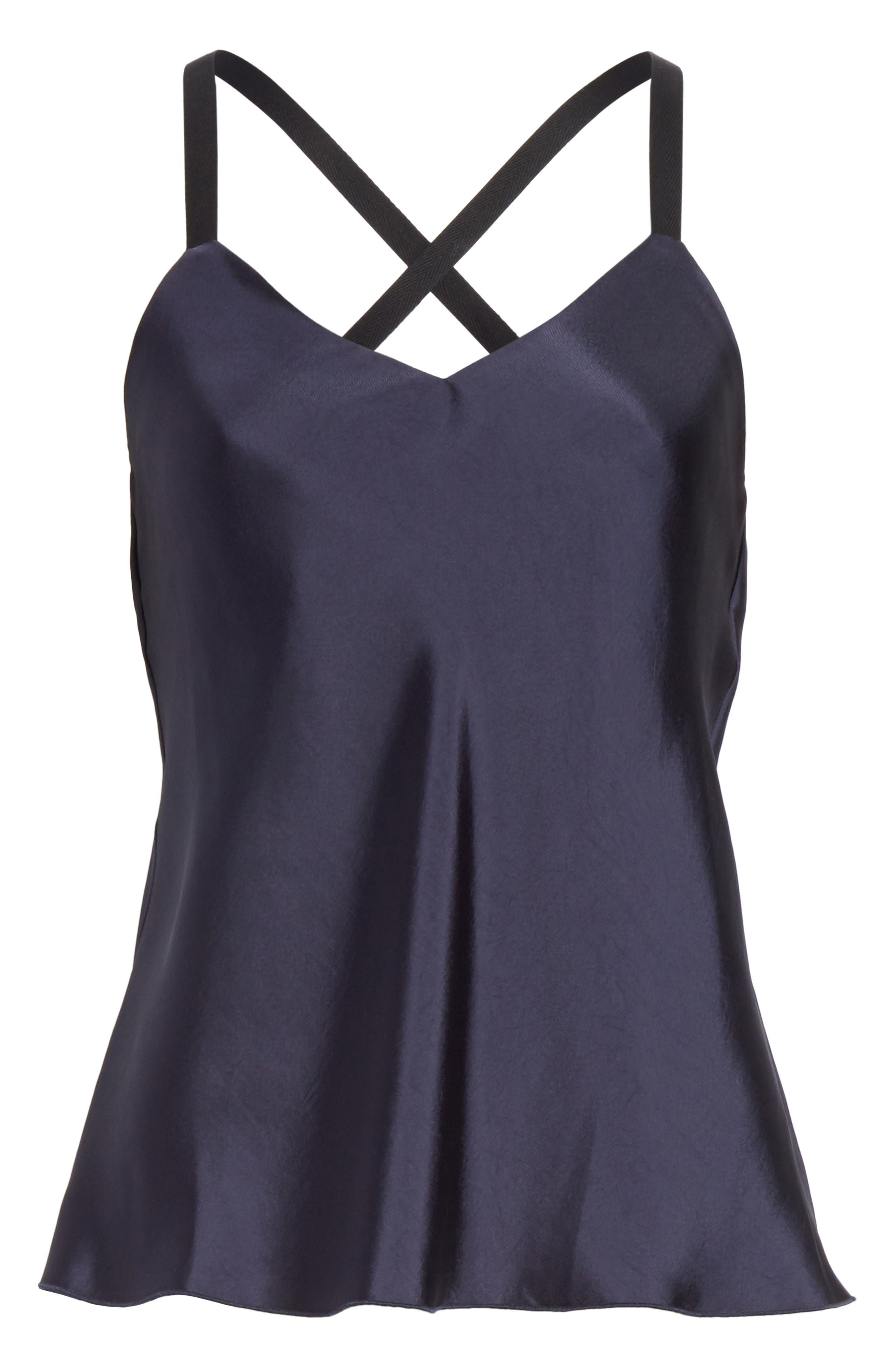 Mendini Strappy Back Silk Camisole,                             Alternate thumbnail 6, color,                             Navy