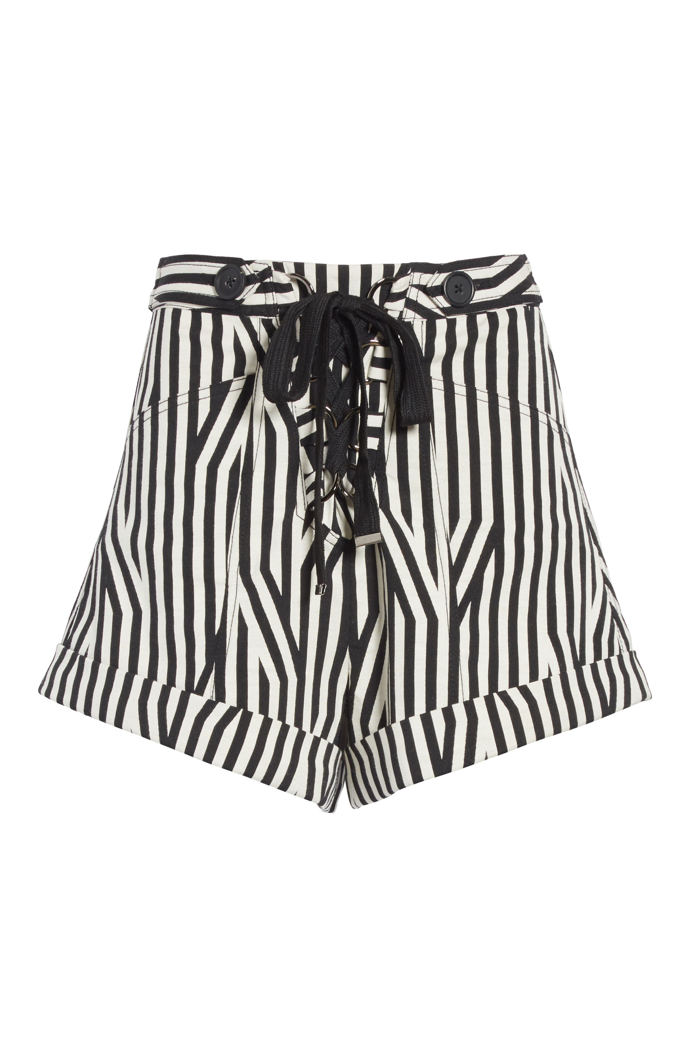 Abstract Stripe Lace-Up Shorts,                             Alternate thumbnail 6, color,                             Black/ White