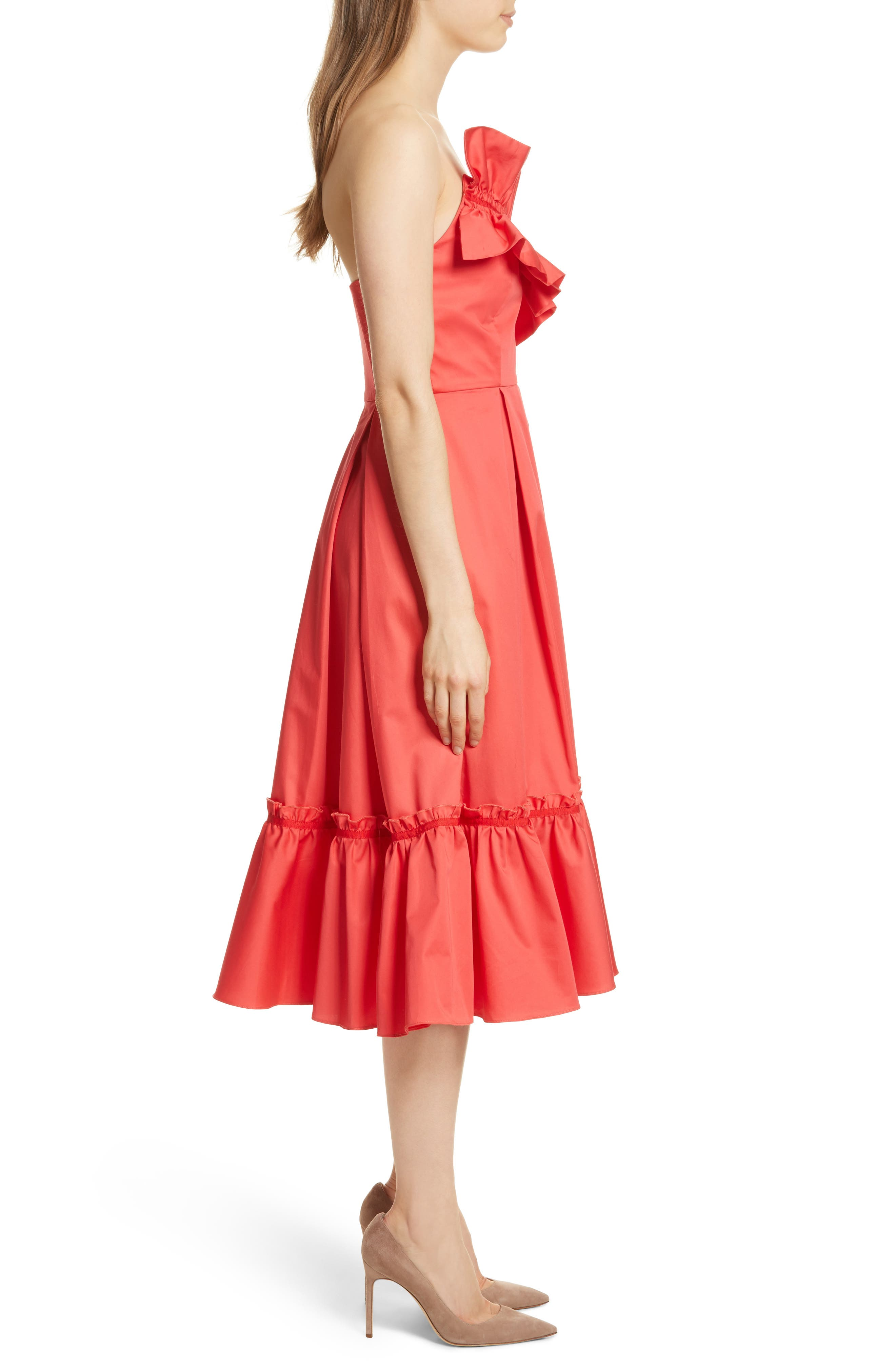 Prose & Poetry Harlow Ruffle Trim Strapless Dress,                             Alternate thumbnail 3, color,                             Watermelon