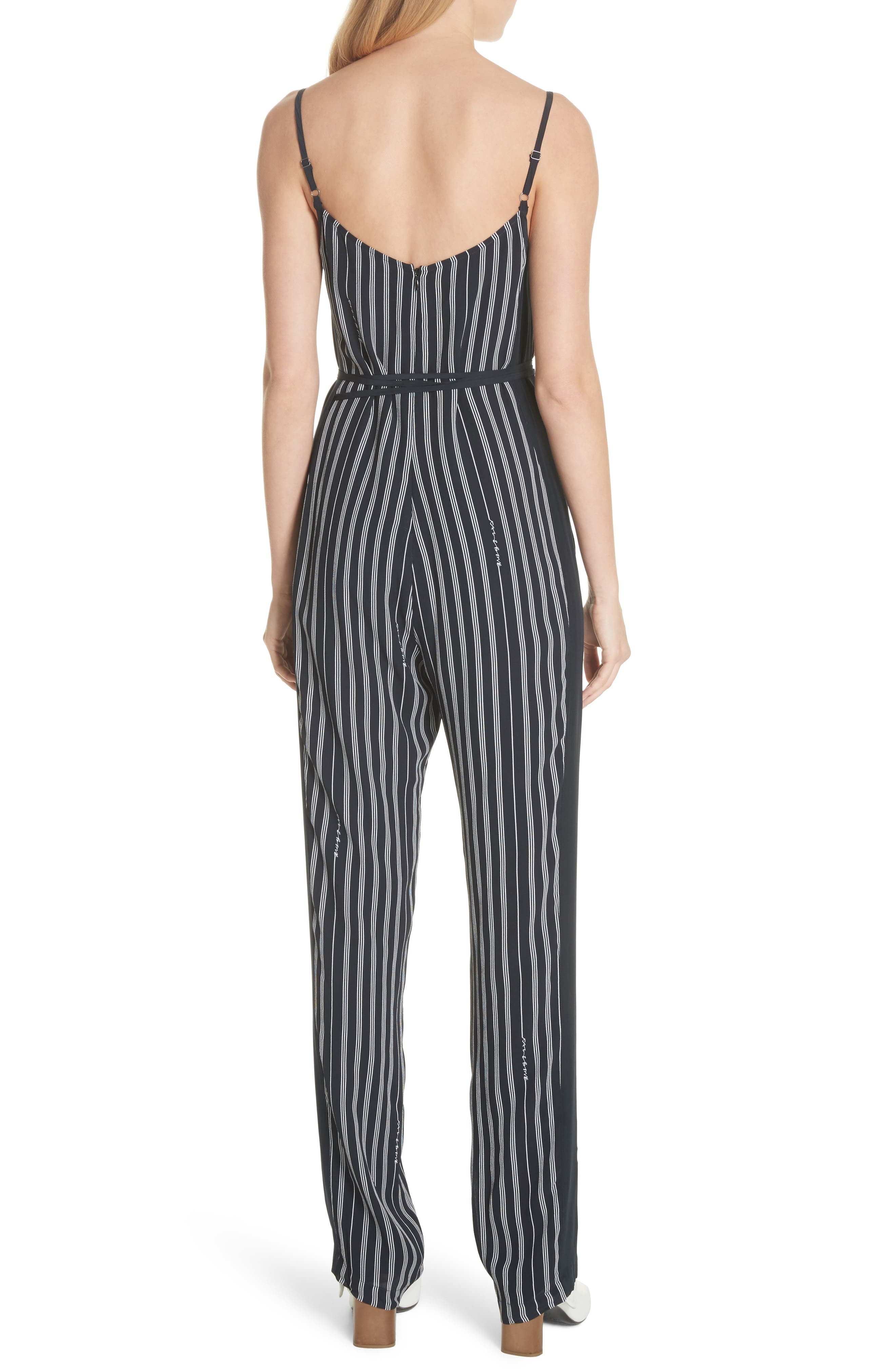 Rosa Silk Panel Belted Jumpsuit,                             Alternate thumbnail 2, color,                             Navy Stripe