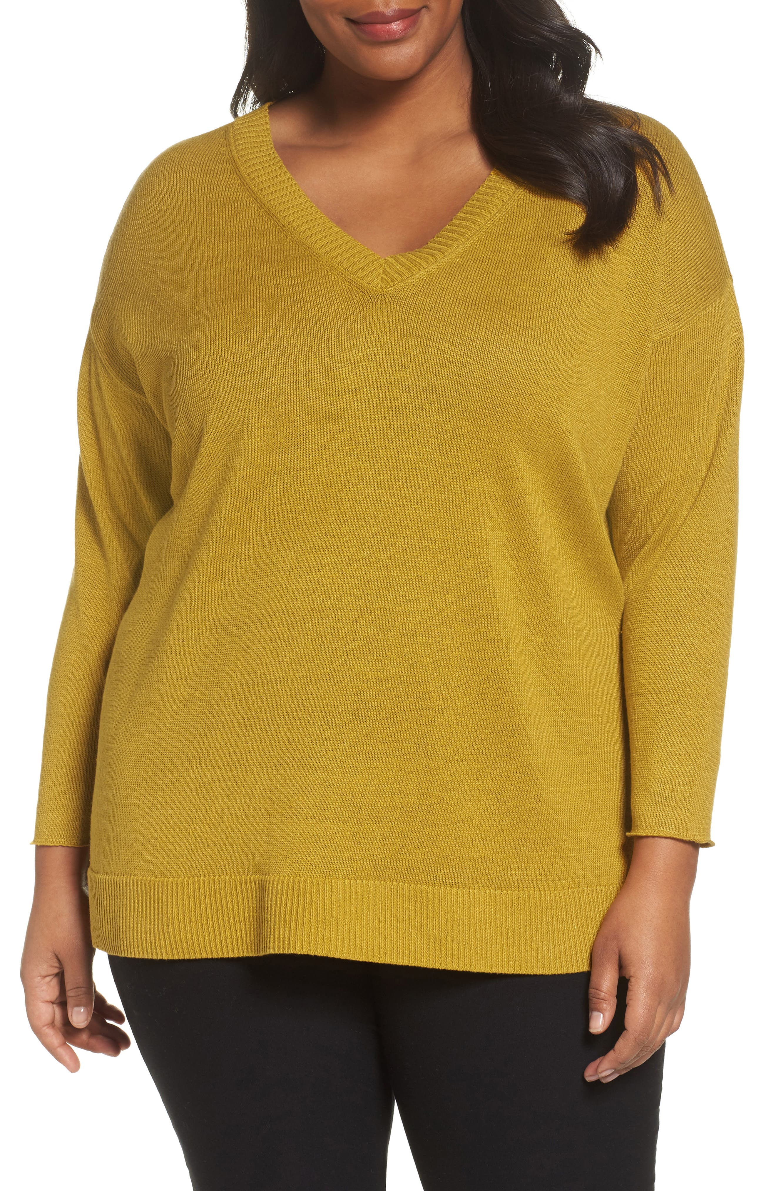 Eileen Fisher Organic Linen Sweater (Plus Size)