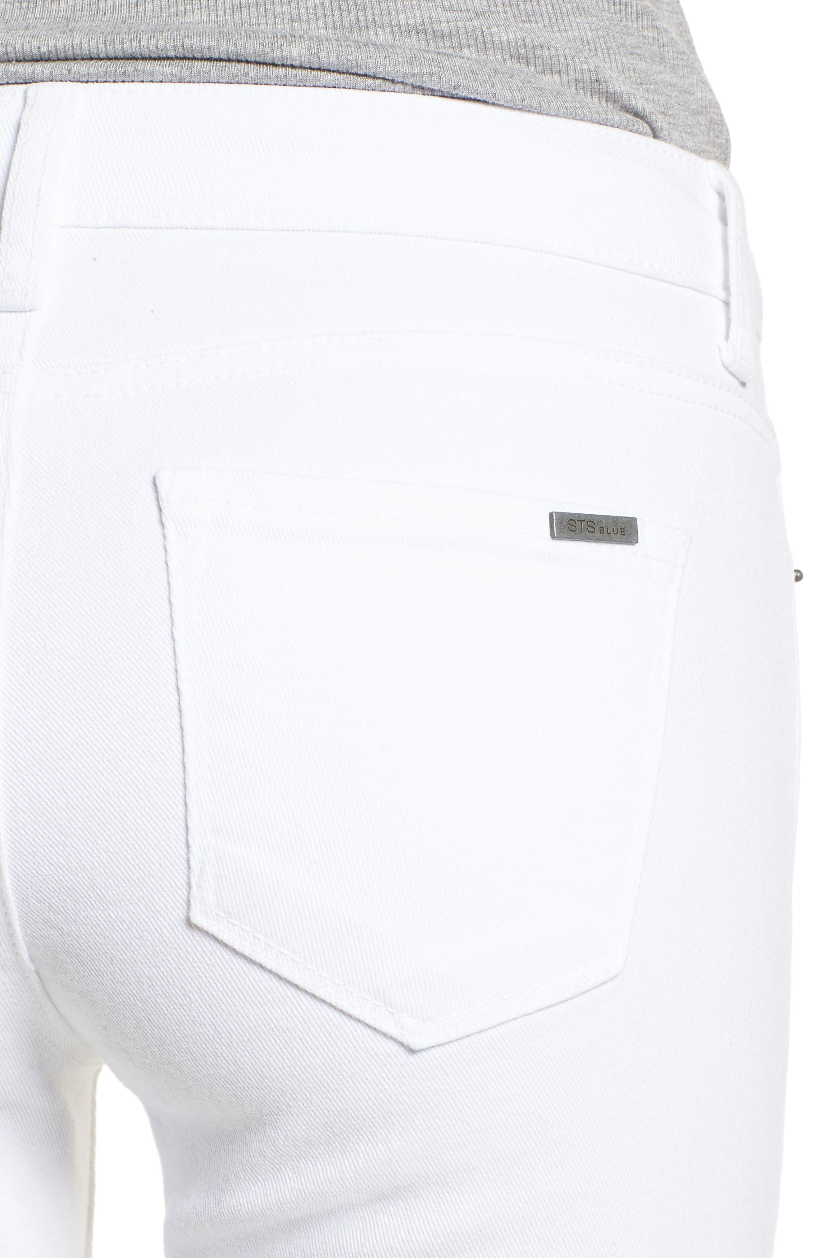 Emma Distressed Skinny Jeans,                             Alternate thumbnail 4, color,                             Optic White