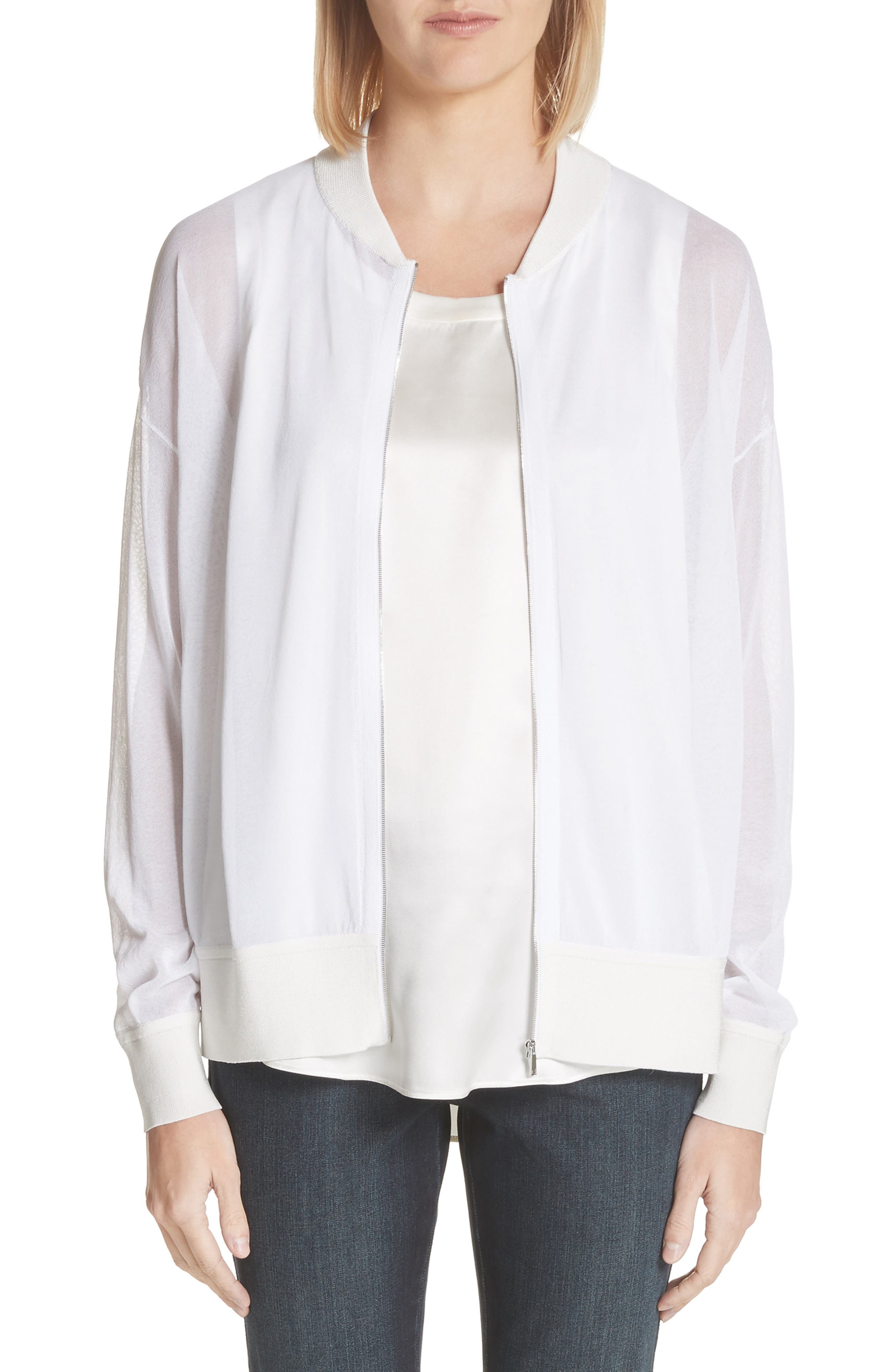 Ethereal Sheer Knit Bomber Jacket,                             Main thumbnail 1, color,                             White