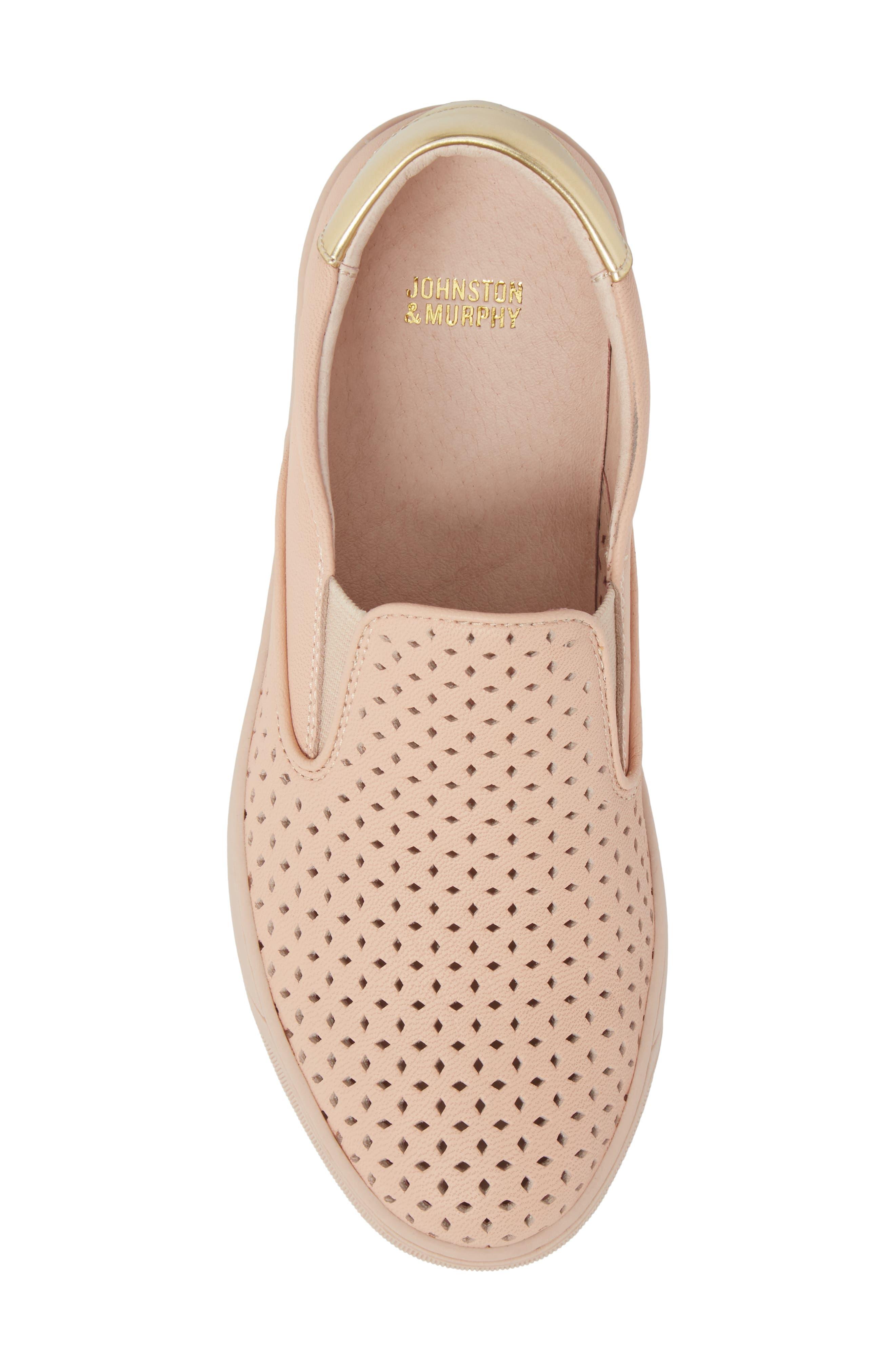 Elaine Slip-On Sneaker,                             Alternate thumbnail 5, color,                             Pink Leather