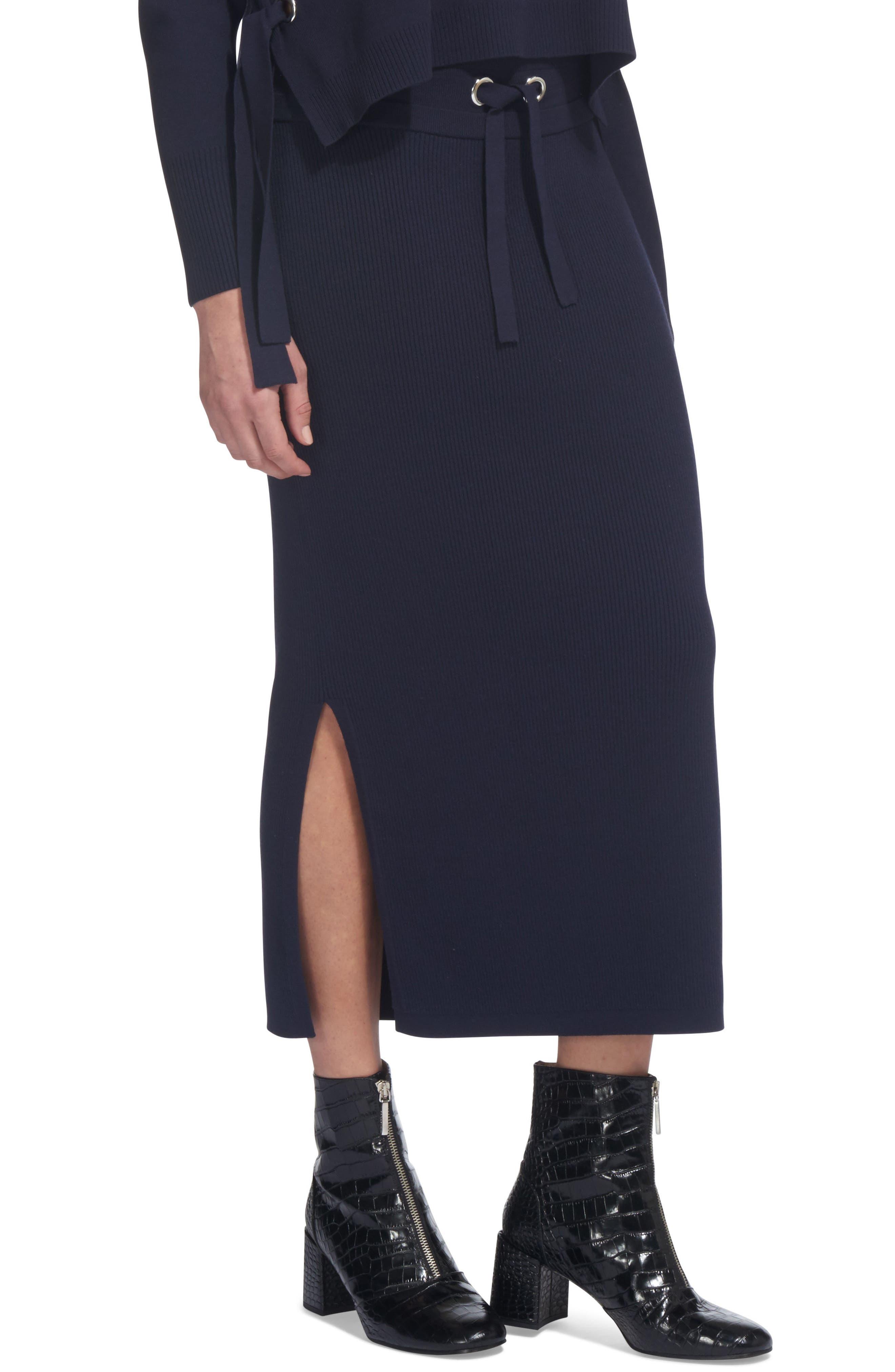 Drawstring Knit Midi Skirt,                             Main thumbnail 1, color,                             Navy