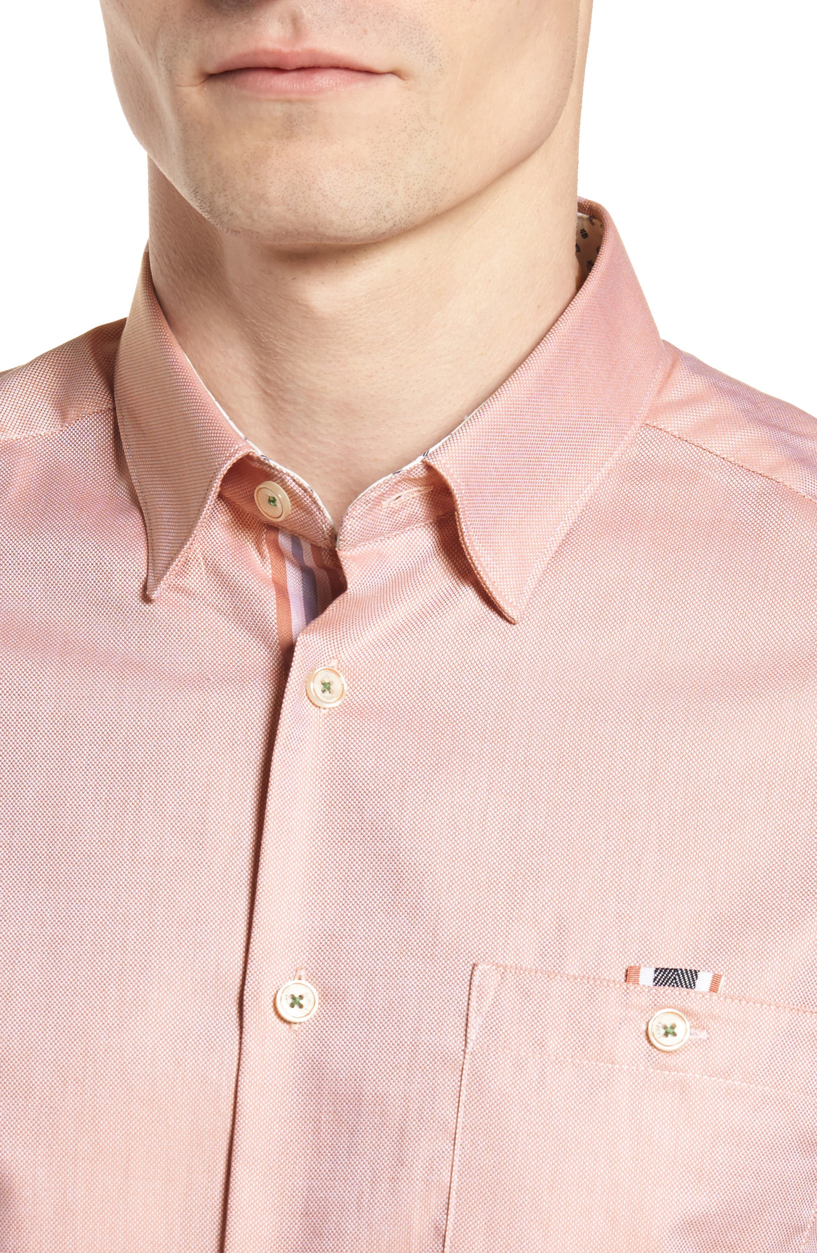Wallo Trim Fit Short Sleeve Sport Shirt,                             Alternate thumbnail 2, color,                             Pink