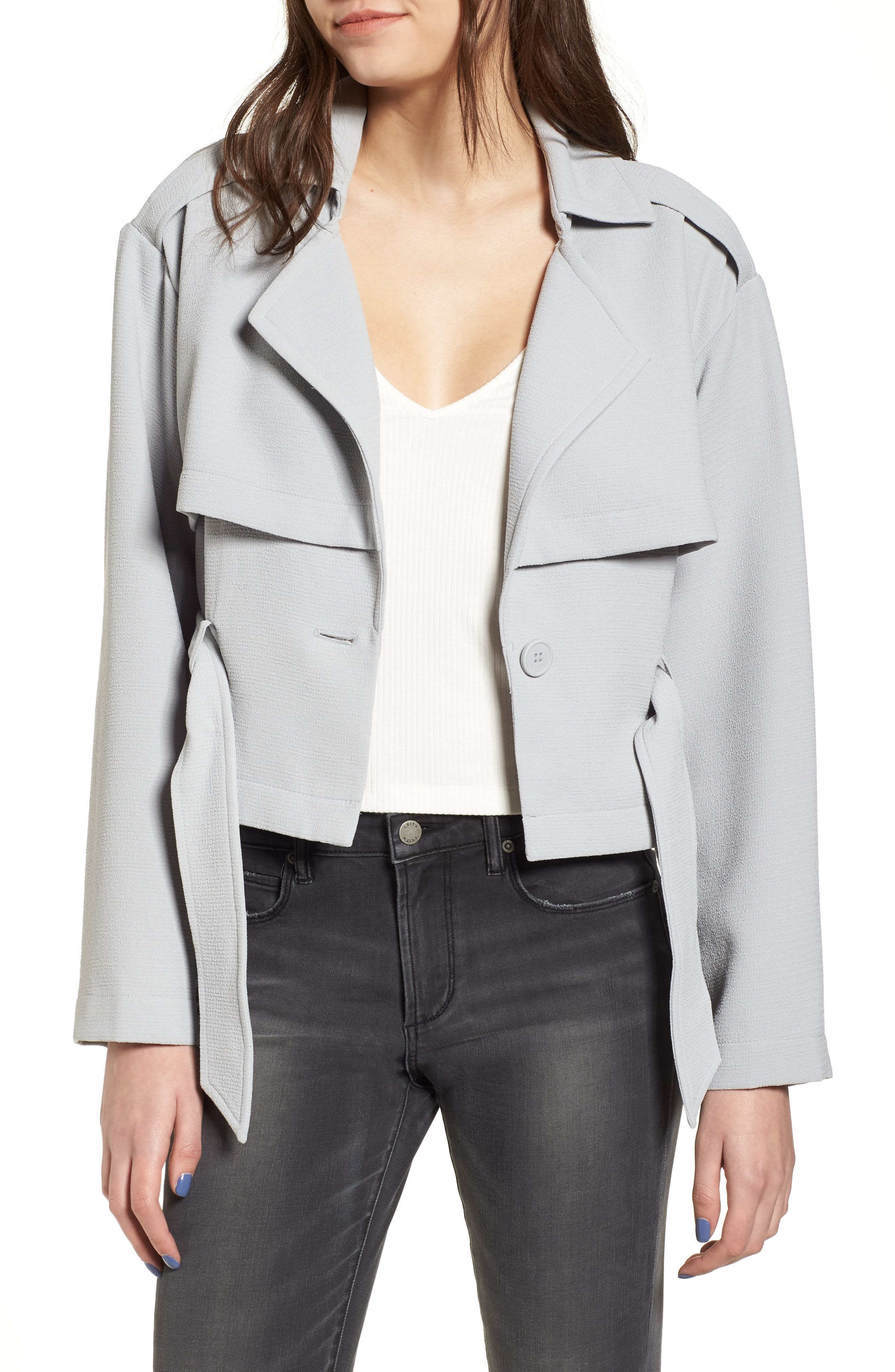 Crop Trench Jacket,                             Alternate thumbnail 2, color,                             Blue Pearl