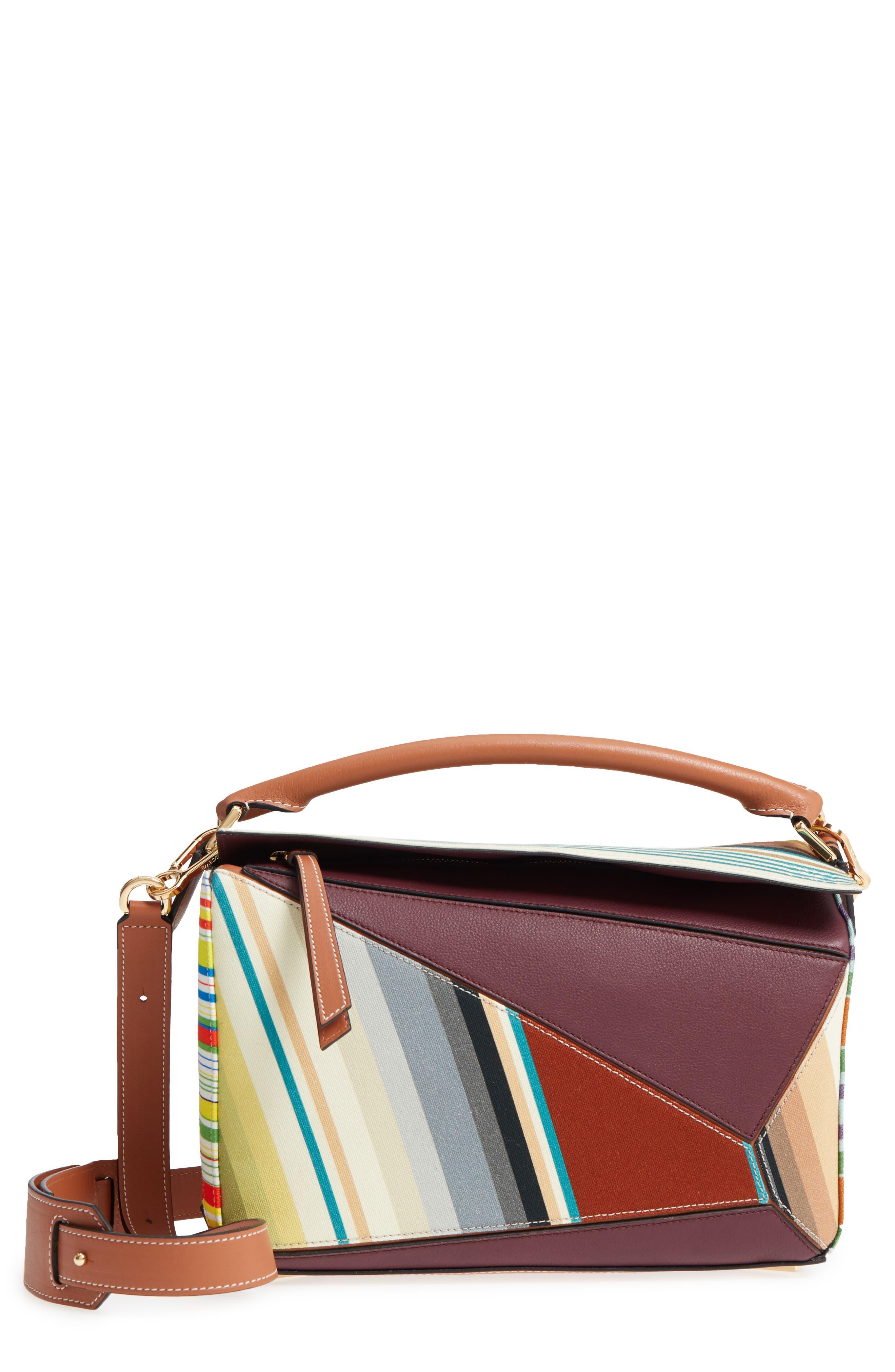Loewe Medium Puzzle Stripe Canvas & Leather Shoulder Bag