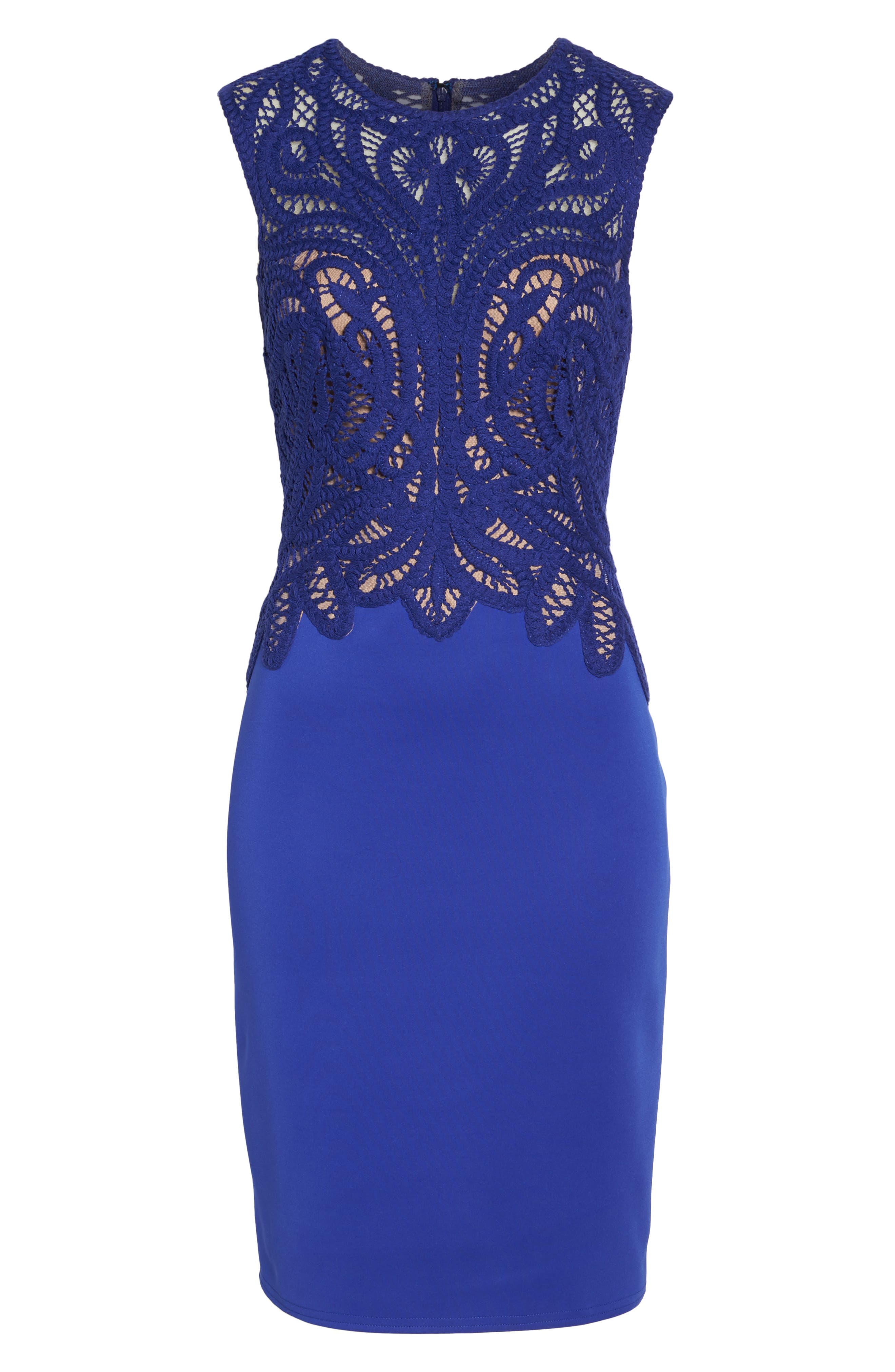 Alternate Image 6  - Tadashi Shoji Crochet & Crepe Sheath Dress