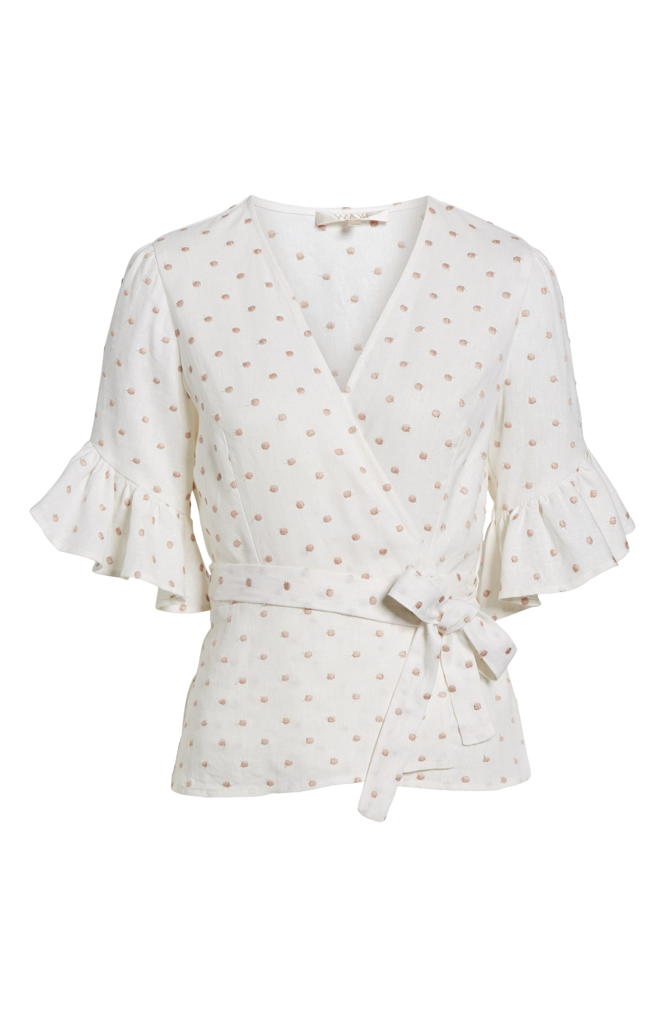 Kaitlyn Wrap Top,                             Alternate thumbnail 6, color,                             Ivory W/ Pink Dot