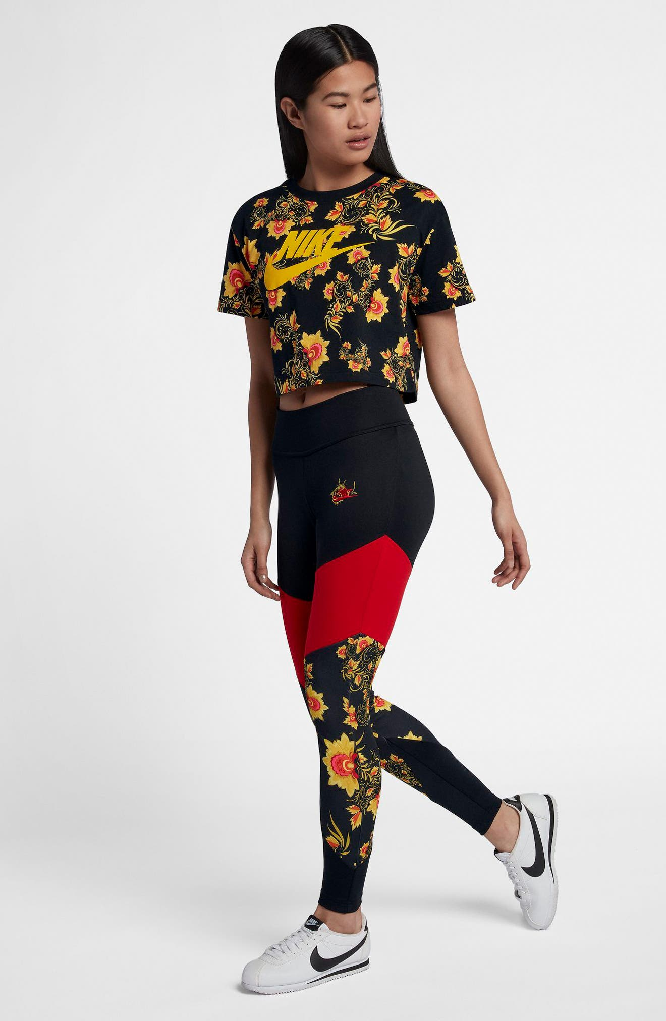 Sportswear Russian Floral Print Crop Tee,                             Alternate thumbnail 4, color,                             Black