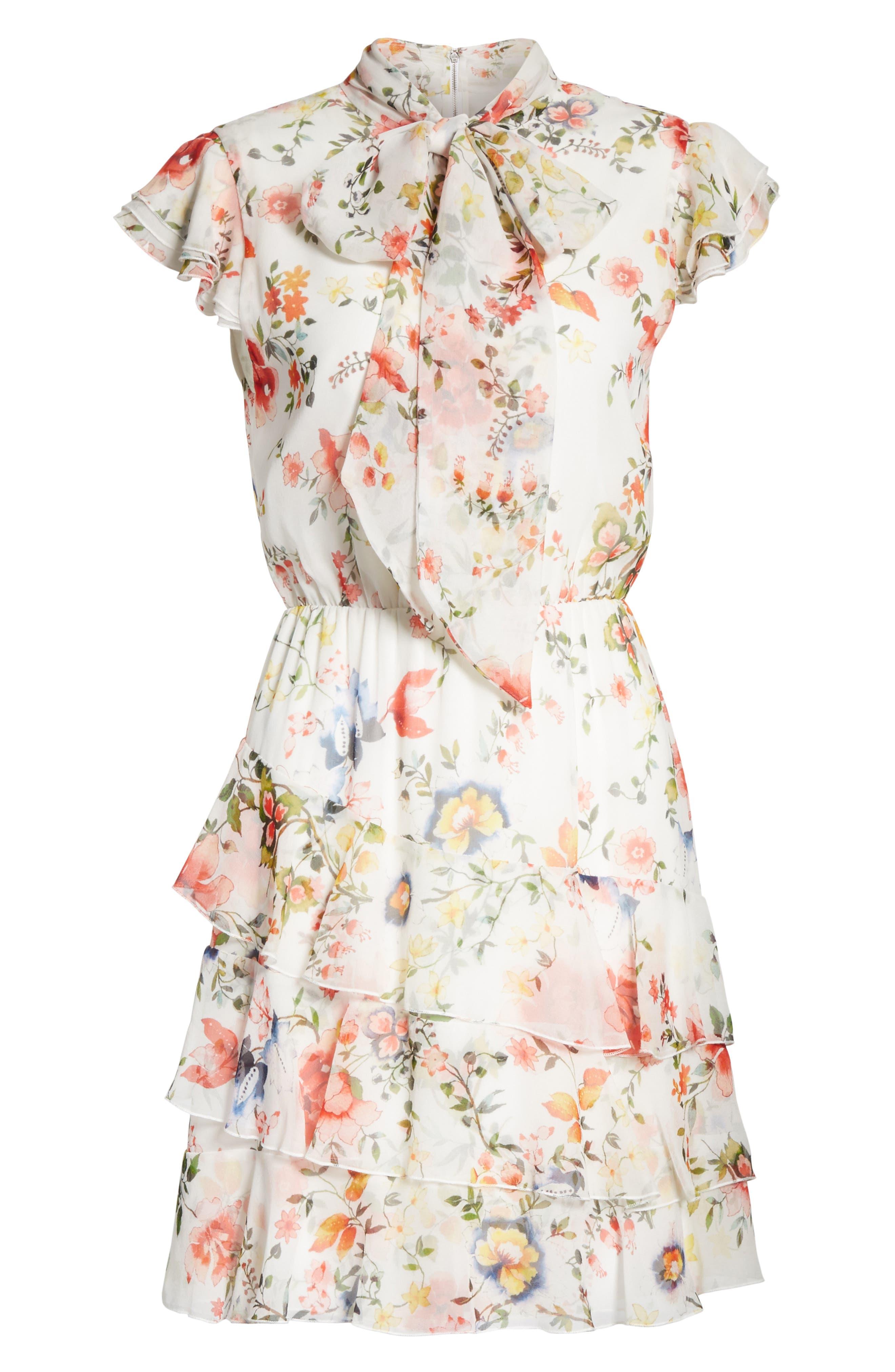 Lessie Ruffled Floral Silk Dress,                             Alternate thumbnail 6, color,                             Floral Soiree-Soft White