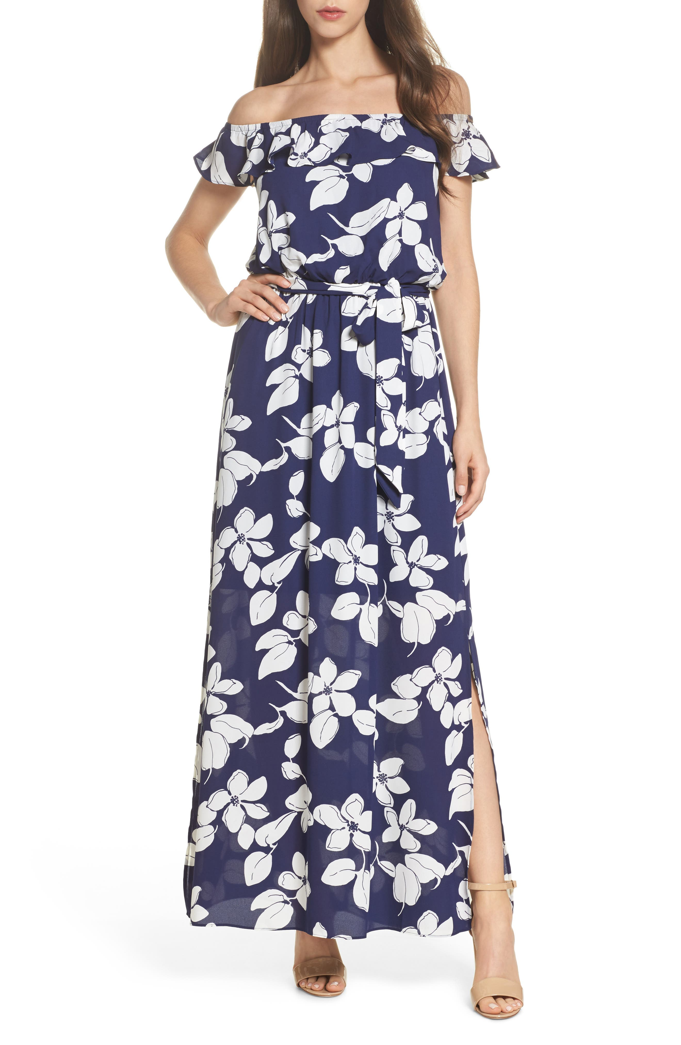 Off the Shoulder Ruffle Maxi Dress,                             Main thumbnail 1, color,                             Blue Multi