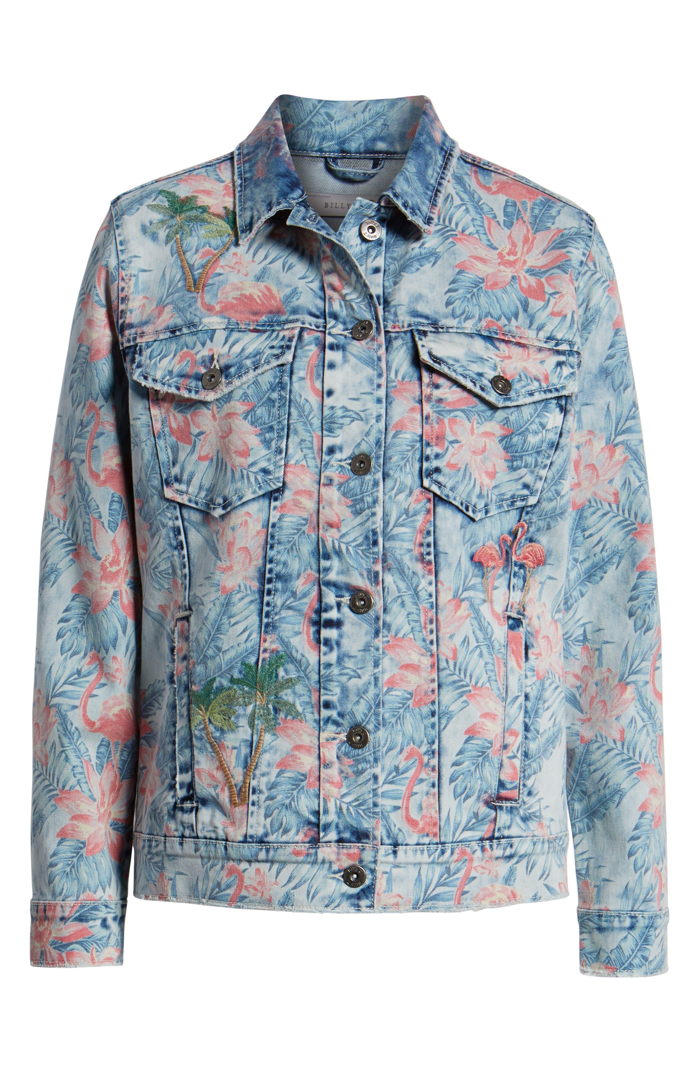 Embroidered Floral Denim Jacket,                             Alternate thumbnail 7, color,                             Light Blue Paradise