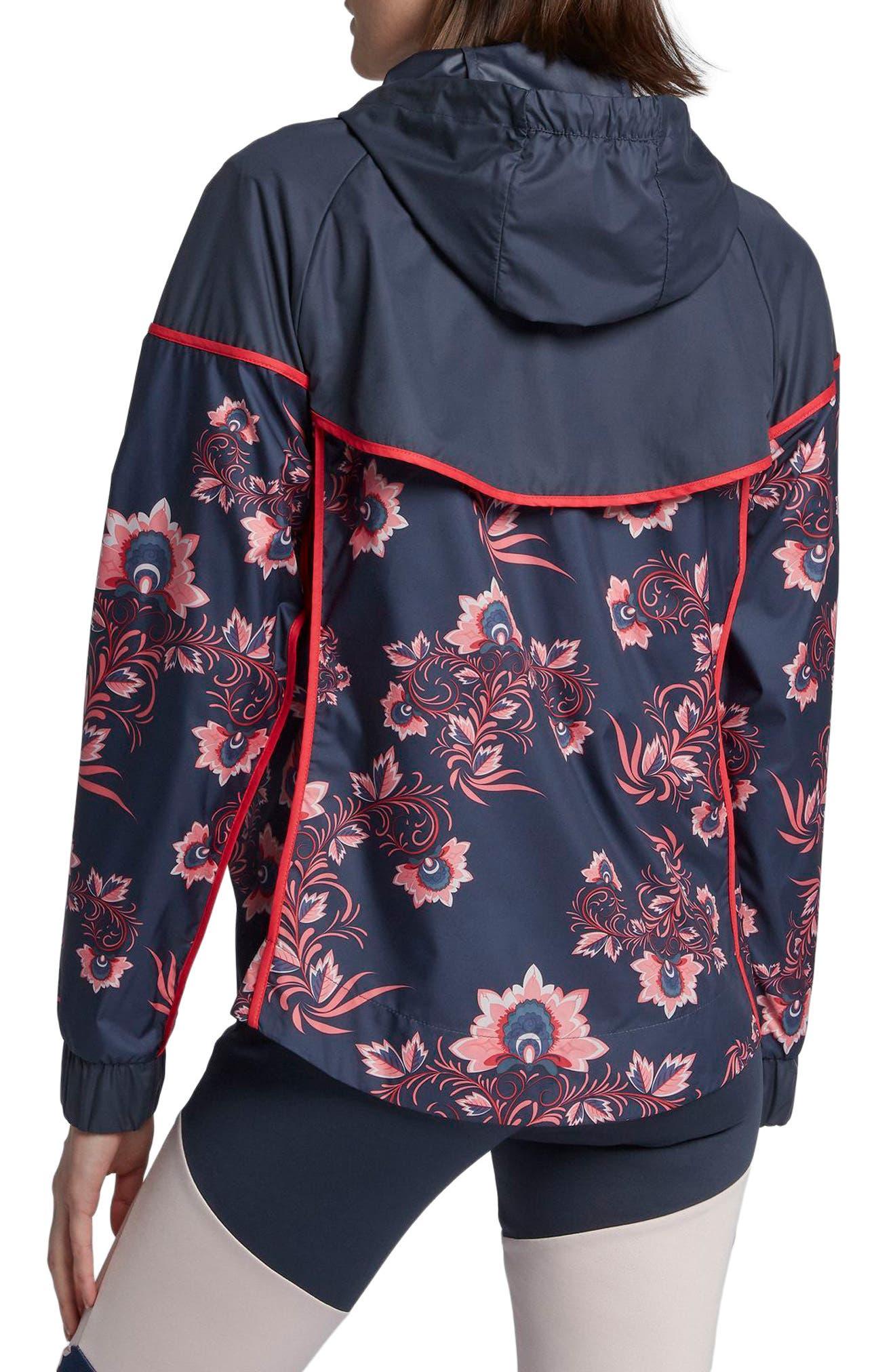 Sportswear Floral Print Track Jacket,                             Alternate thumbnail 2, color,                             Thunder Blue