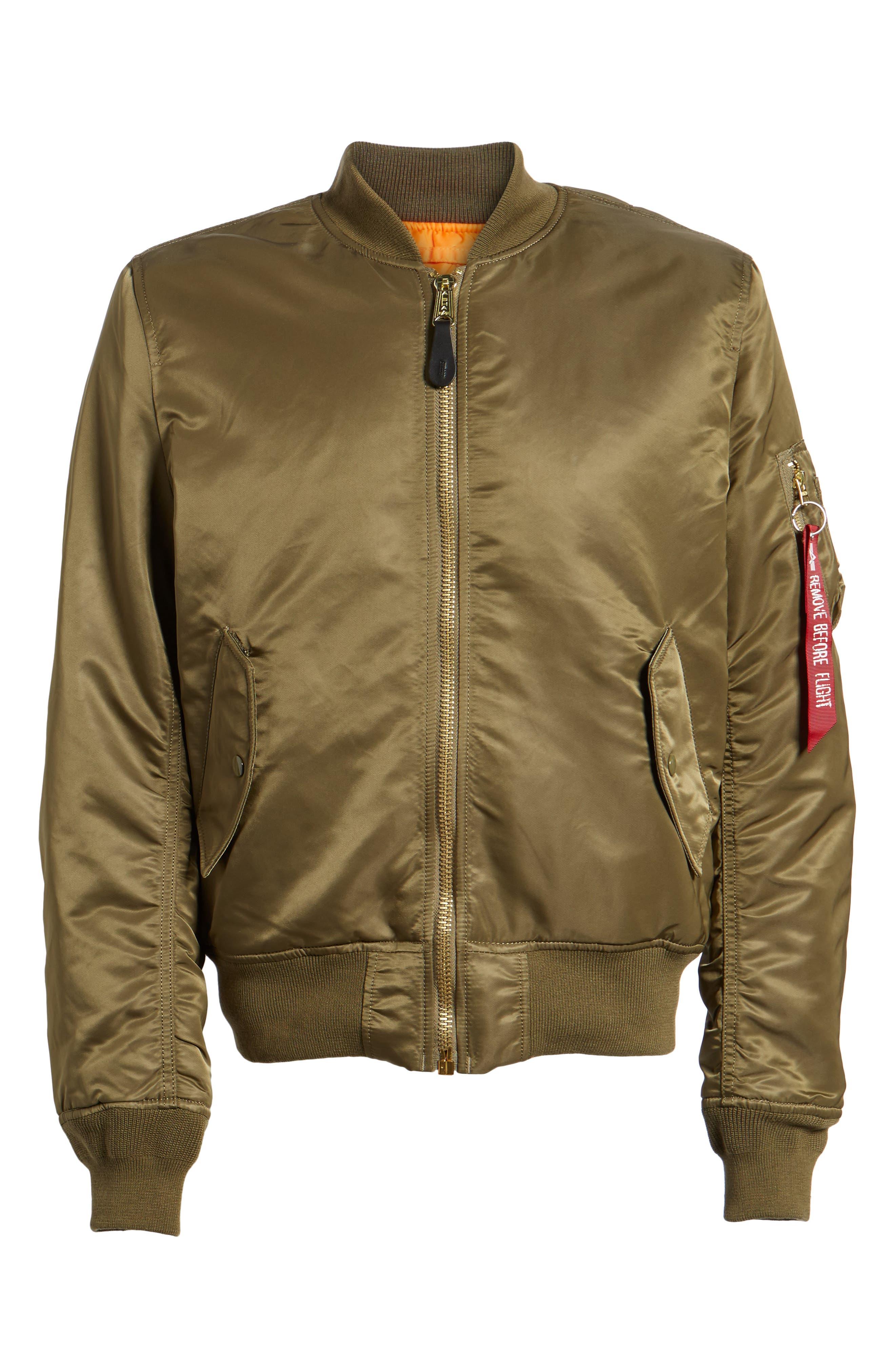 'MA-1' Slim Fit Bomber Jacket,                             Alternate thumbnail 7, color,                             Vintage Olive