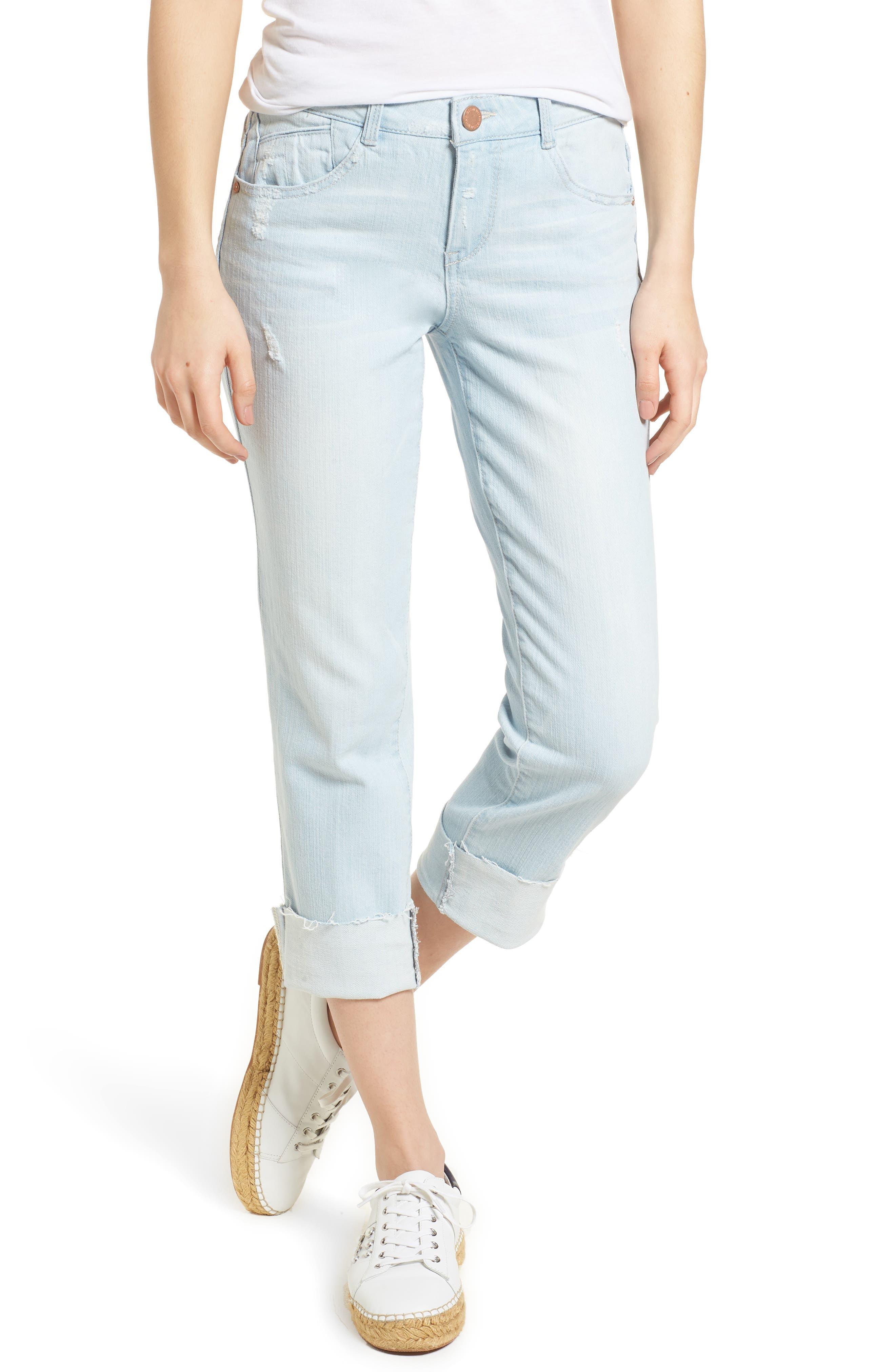 Flex-ellent Distressed Boyfriend Jeans,                             Main thumbnail 1, color,                             Light Blue