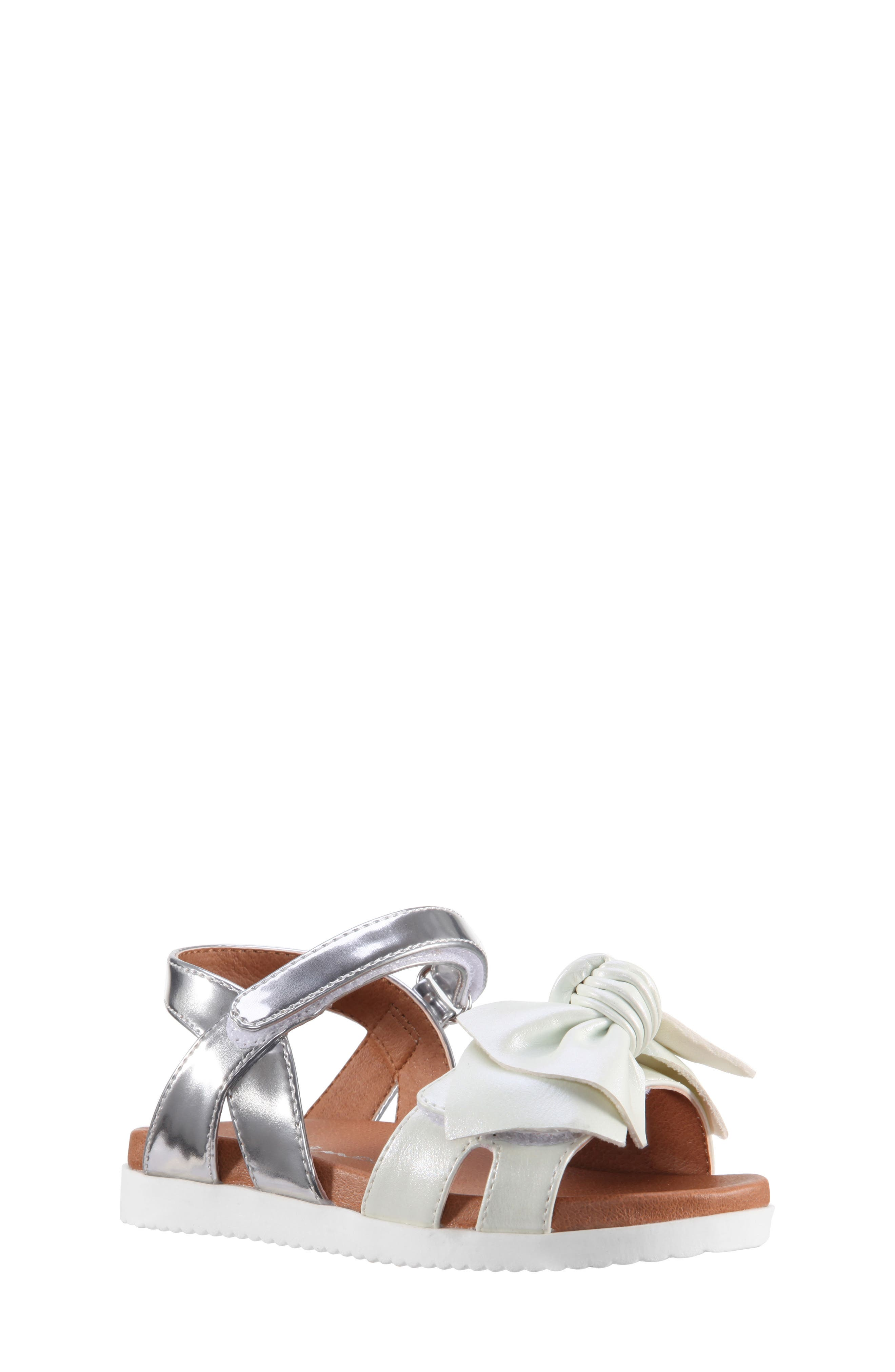 Kaitylyn Bow Sandal,                             Main thumbnail 1, color,                             White Metallic/ Silver