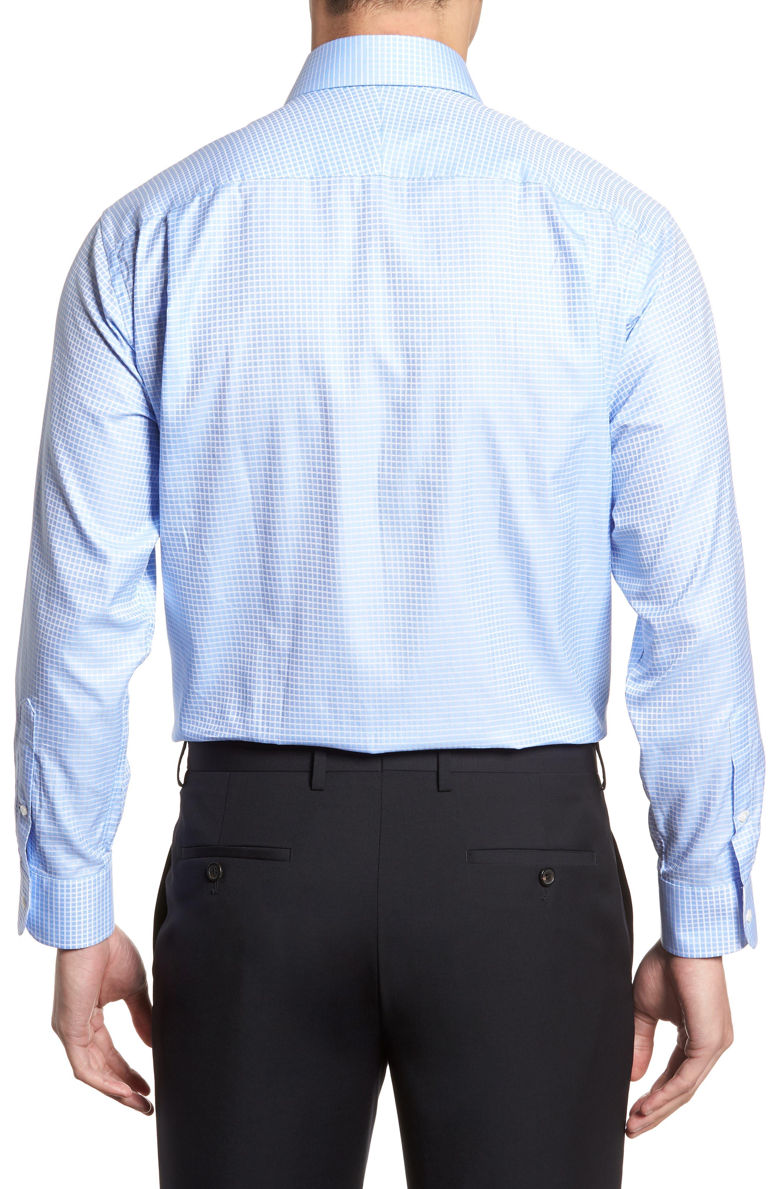 Classic Fit Check Dress Shirt,                             Alternate thumbnail 3, color,                             Blue Hydrangea