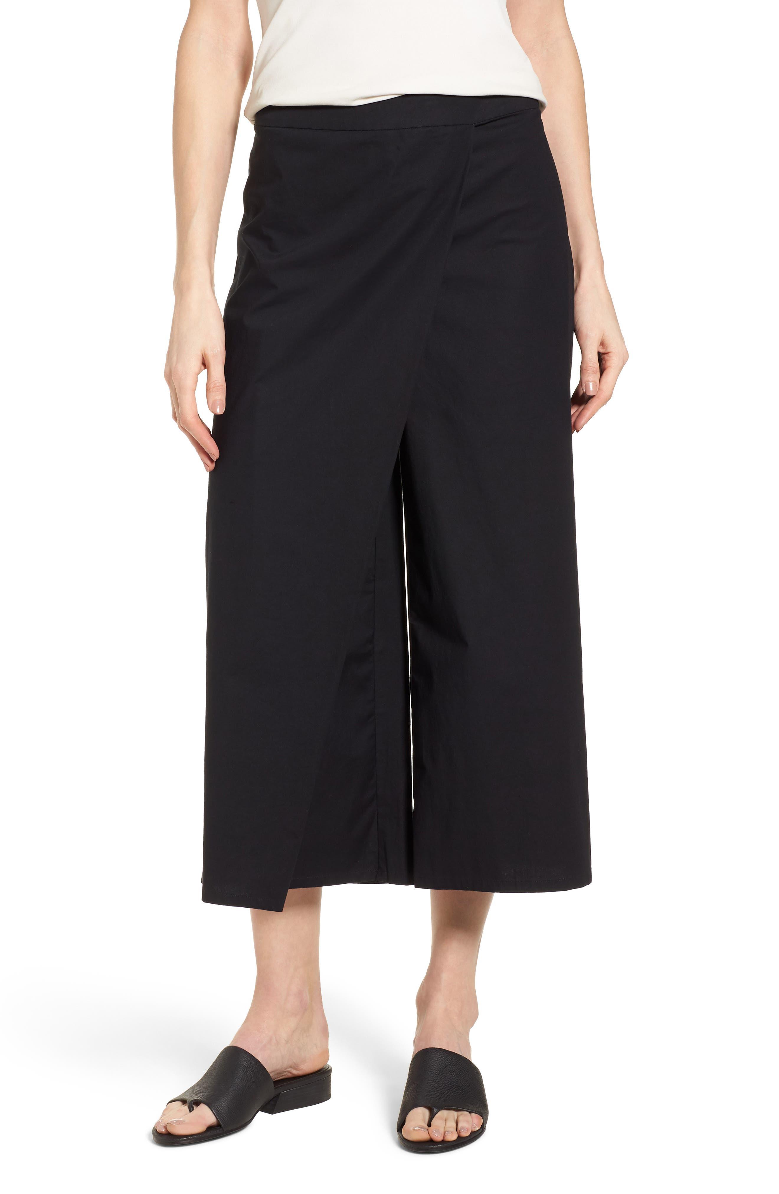 Foldover Wide Leg Crop Pants,                         Main,                         color, Black