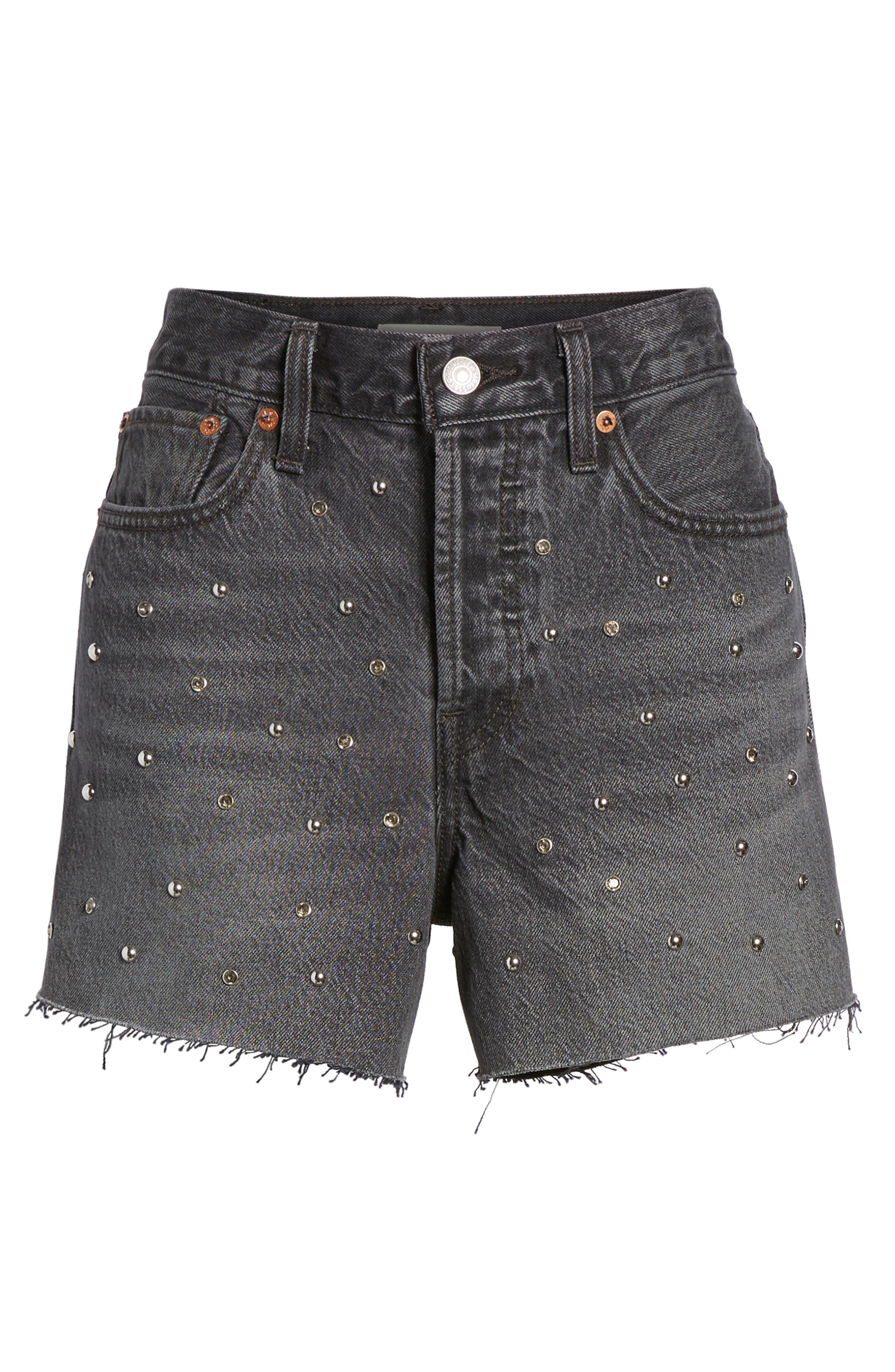 Wedgie High Waist Cutoff Denim Shorts,                             Alternate thumbnail 6, color,                             Bling Bling