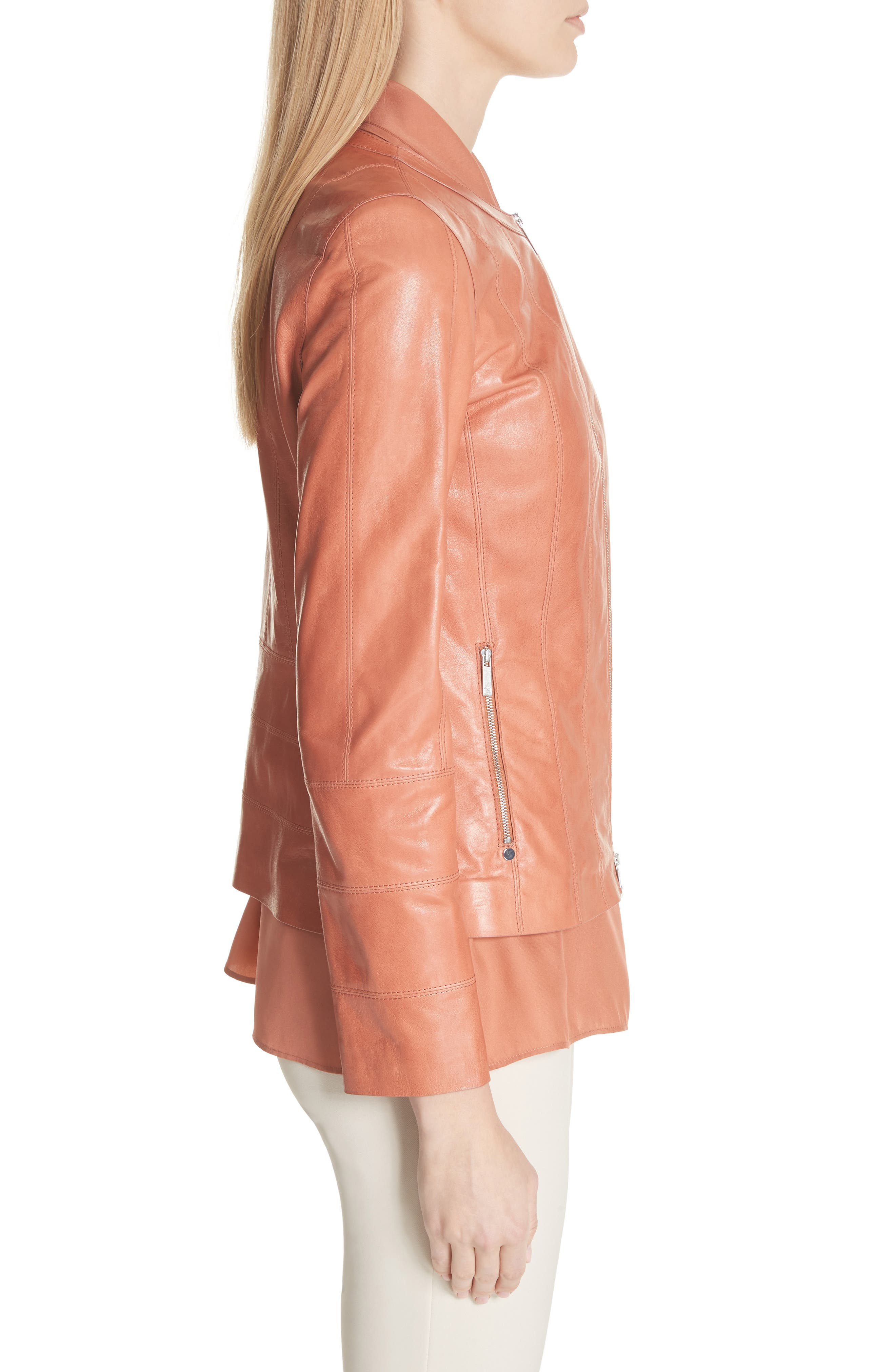 Courtney Glazed Lambskin Leather Jacket,                             Alternate thumbnail 3, color,                             Adobe