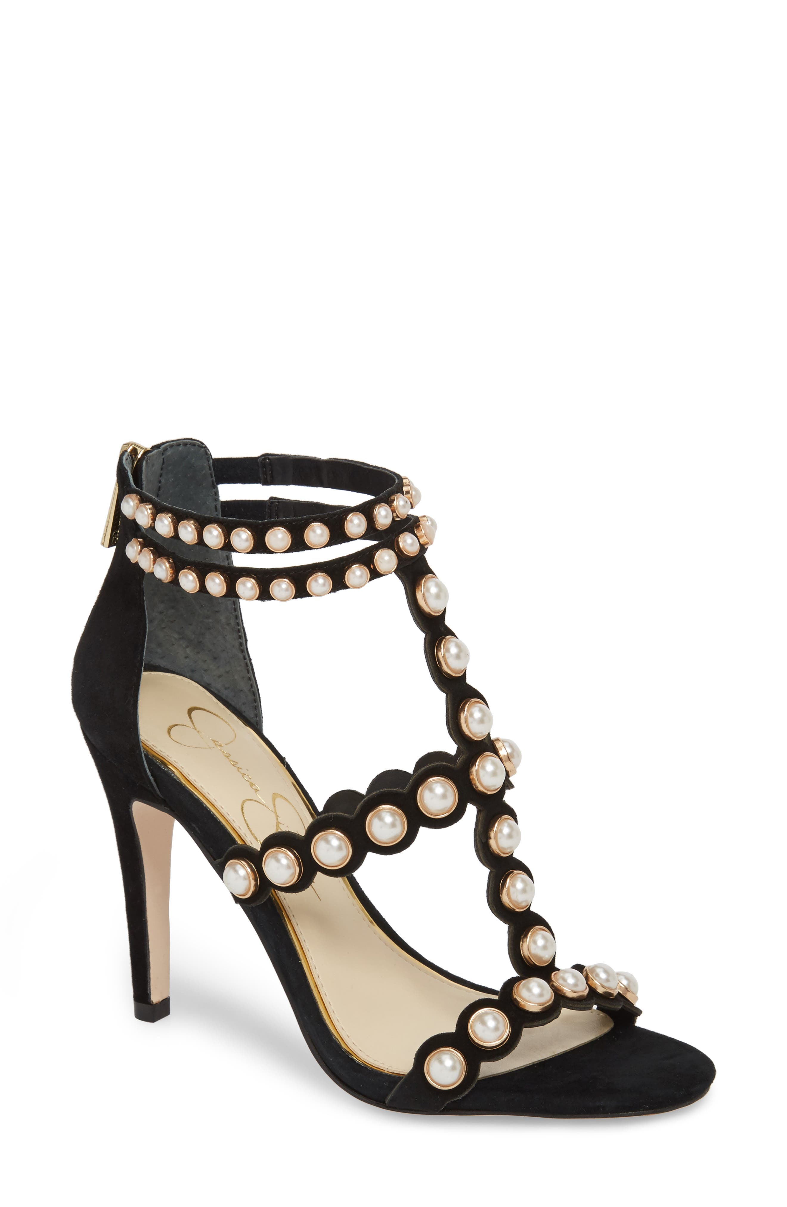 Eleia Imitation Pearl Stud Sandal,                             Main thumbnail 1, color,                             Black Suede