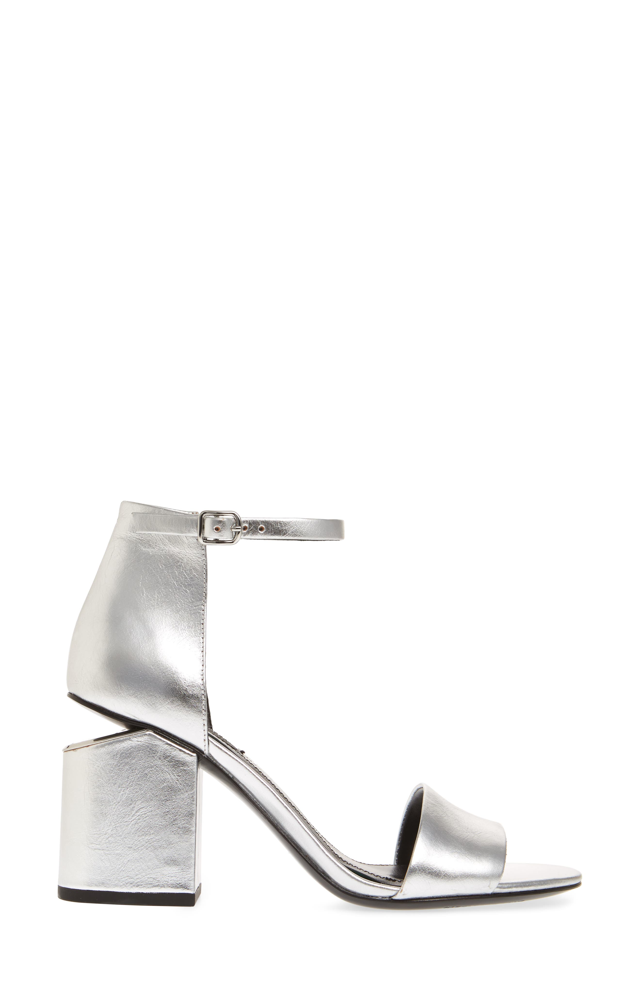 Abby Ankle Strap Sandal,                             Alternate thumbnail 3, color,                             Silver