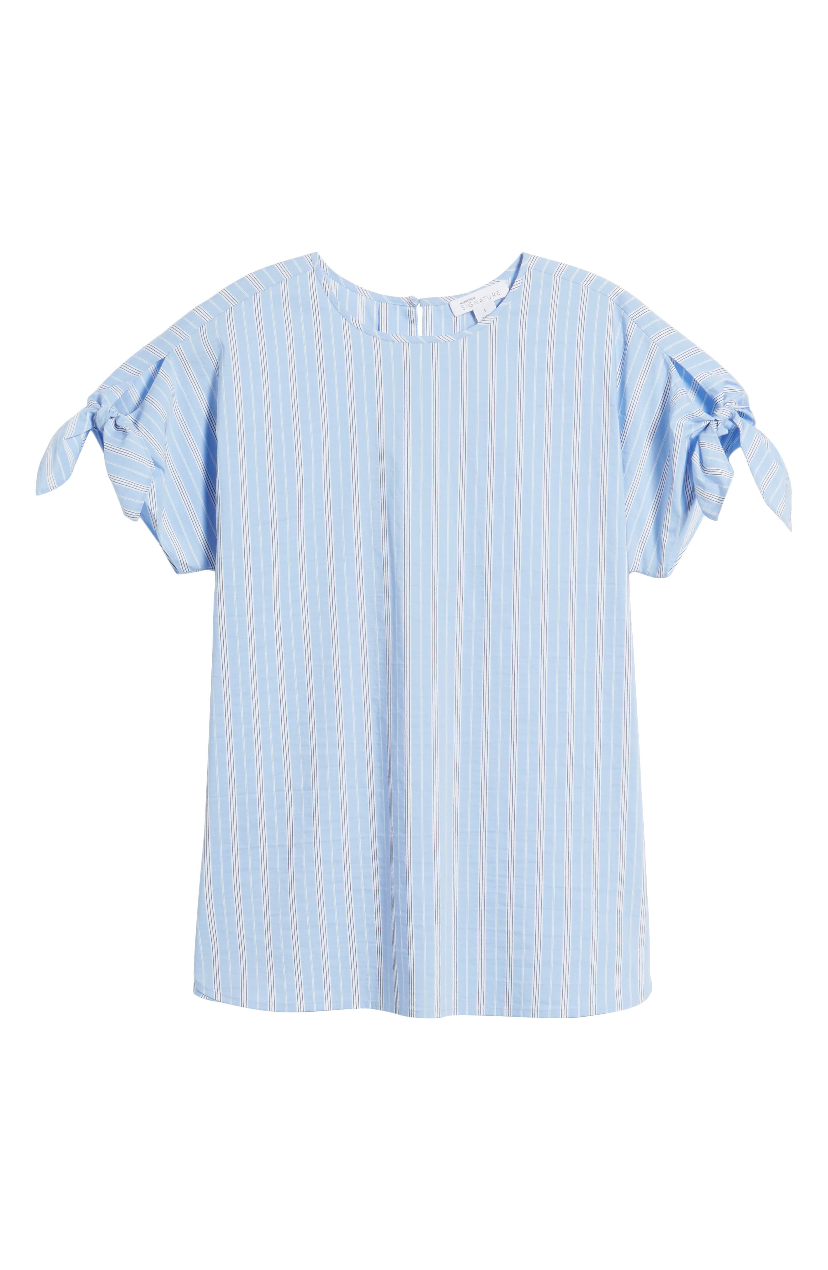 Tie Sleeve Stripe Top,                             Alternate thumbnail 6, color,                             Blue Vista Stripe