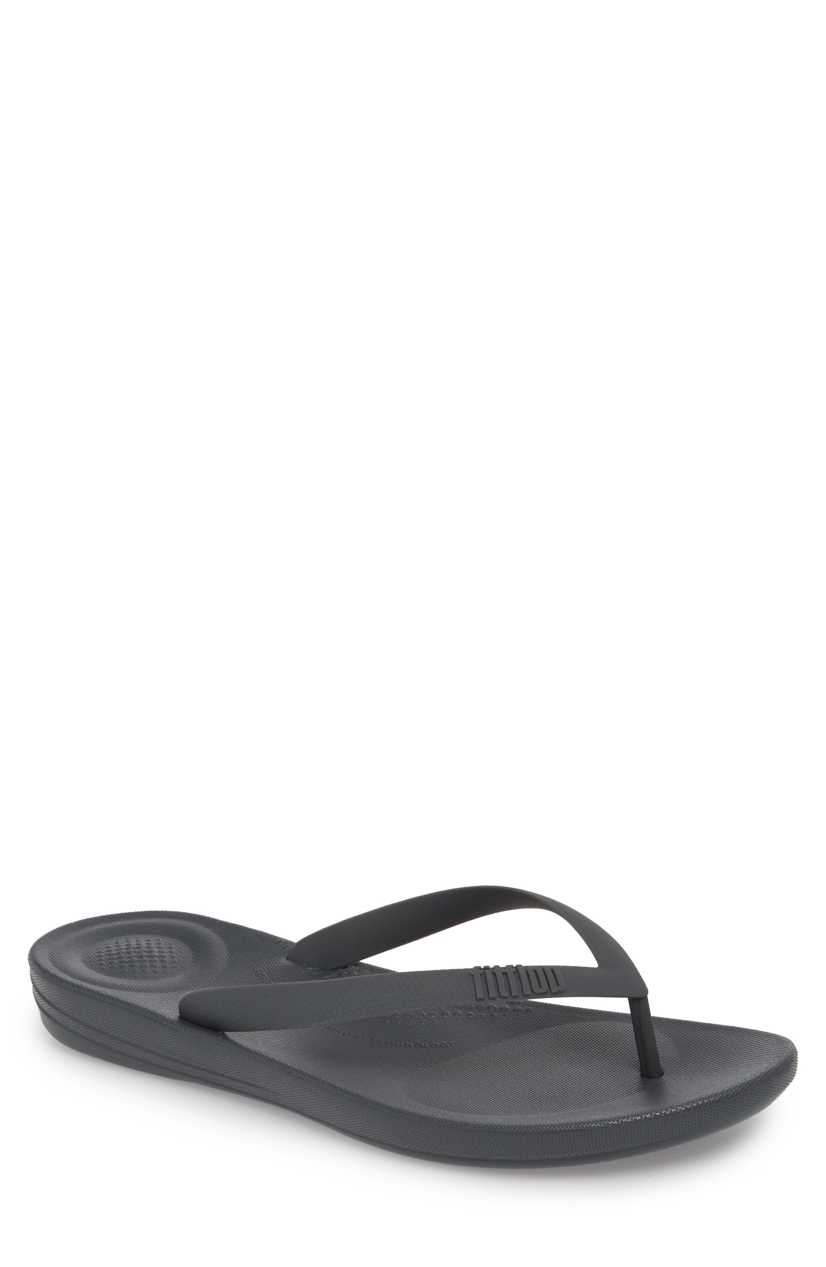 iQushion Flip Flop,                         Main,                         color, Charcoal Rubber