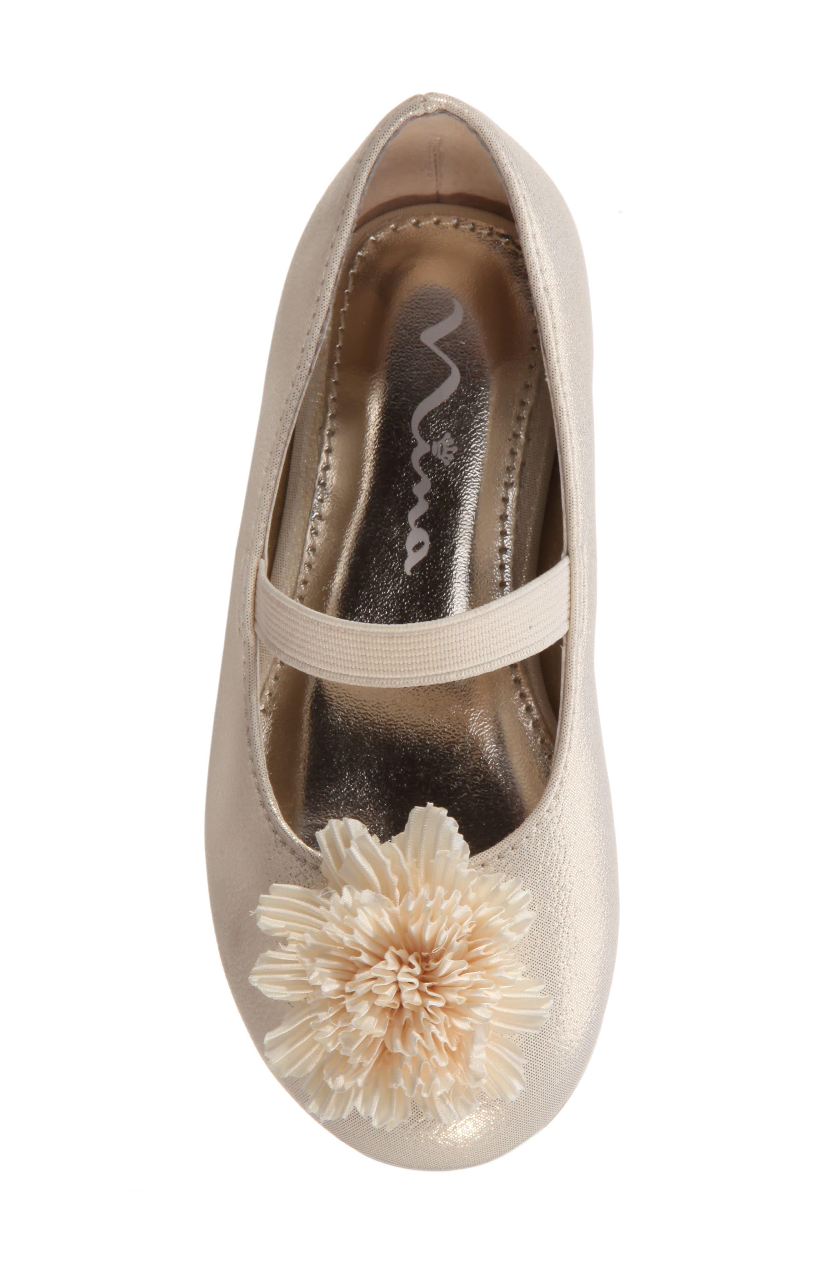 Jemma-T Bow Ballet Flat,                             Alternate thumbnail 5, color,                             Platino Metallic