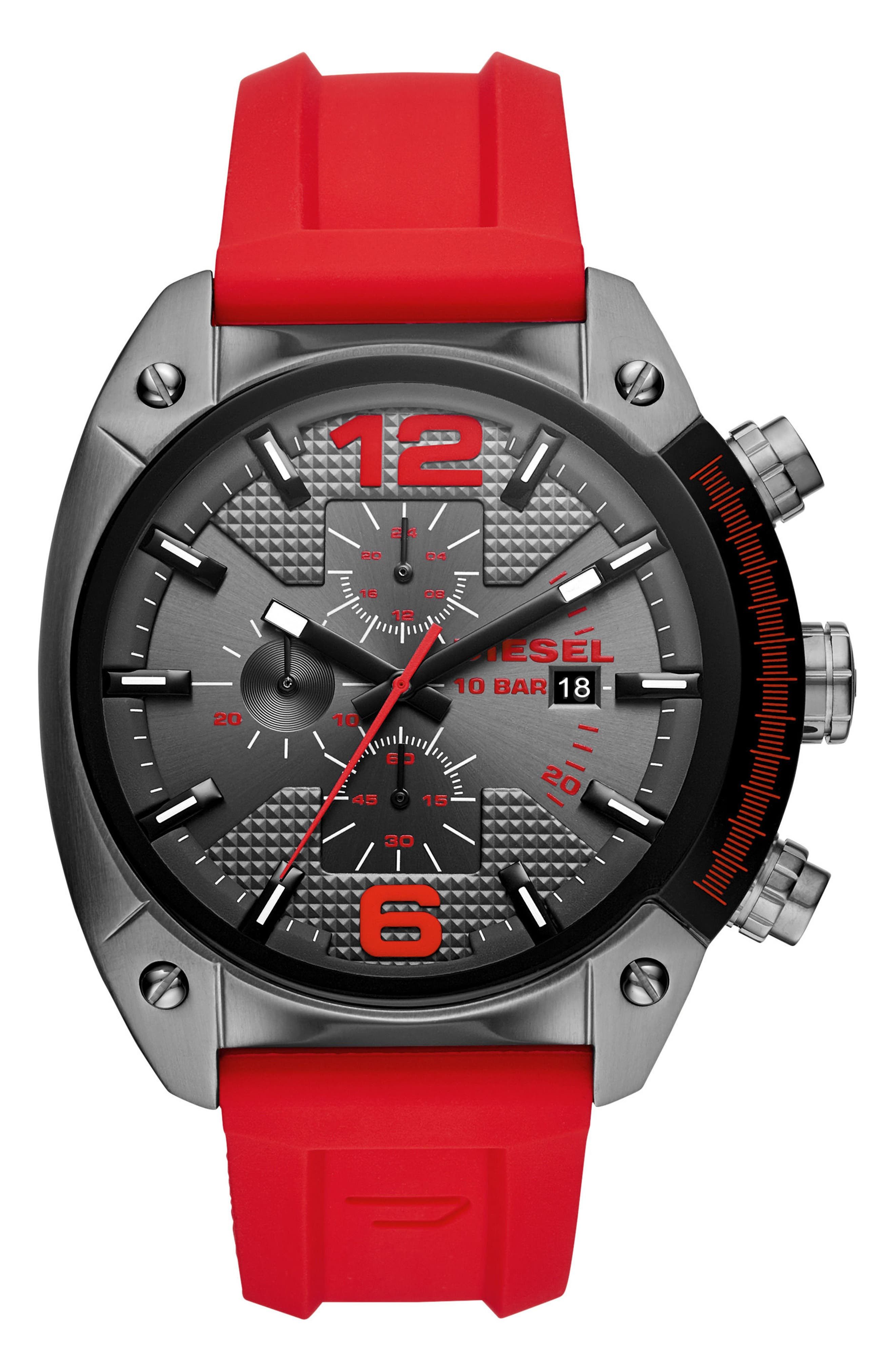 DIESEL® Overflow Chronograph Silicone Strap Watch, 49mm x 55mm