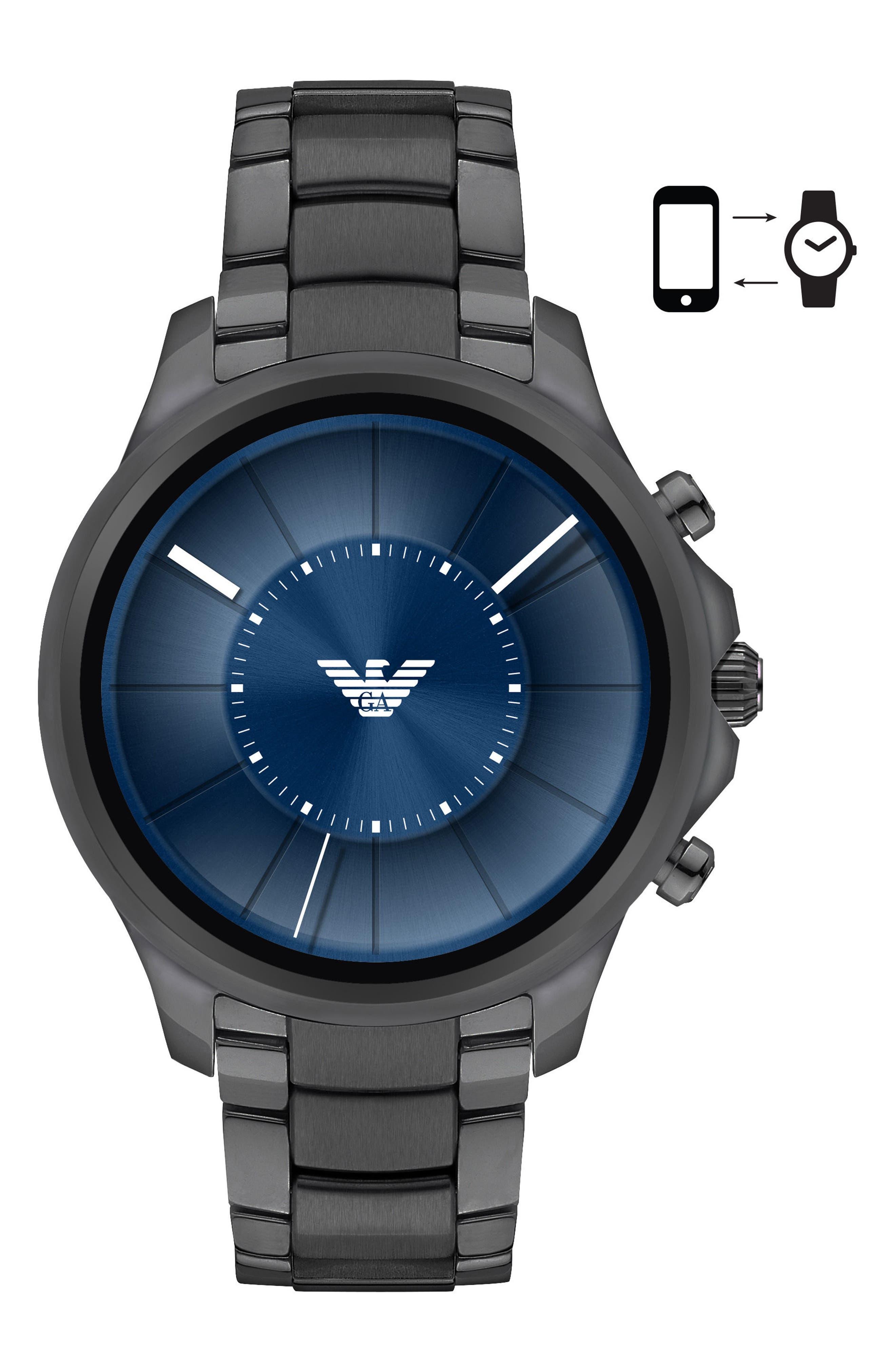 Smartwatch,                             Main thumbnail 1, color,                             Blue/ Gunmetal