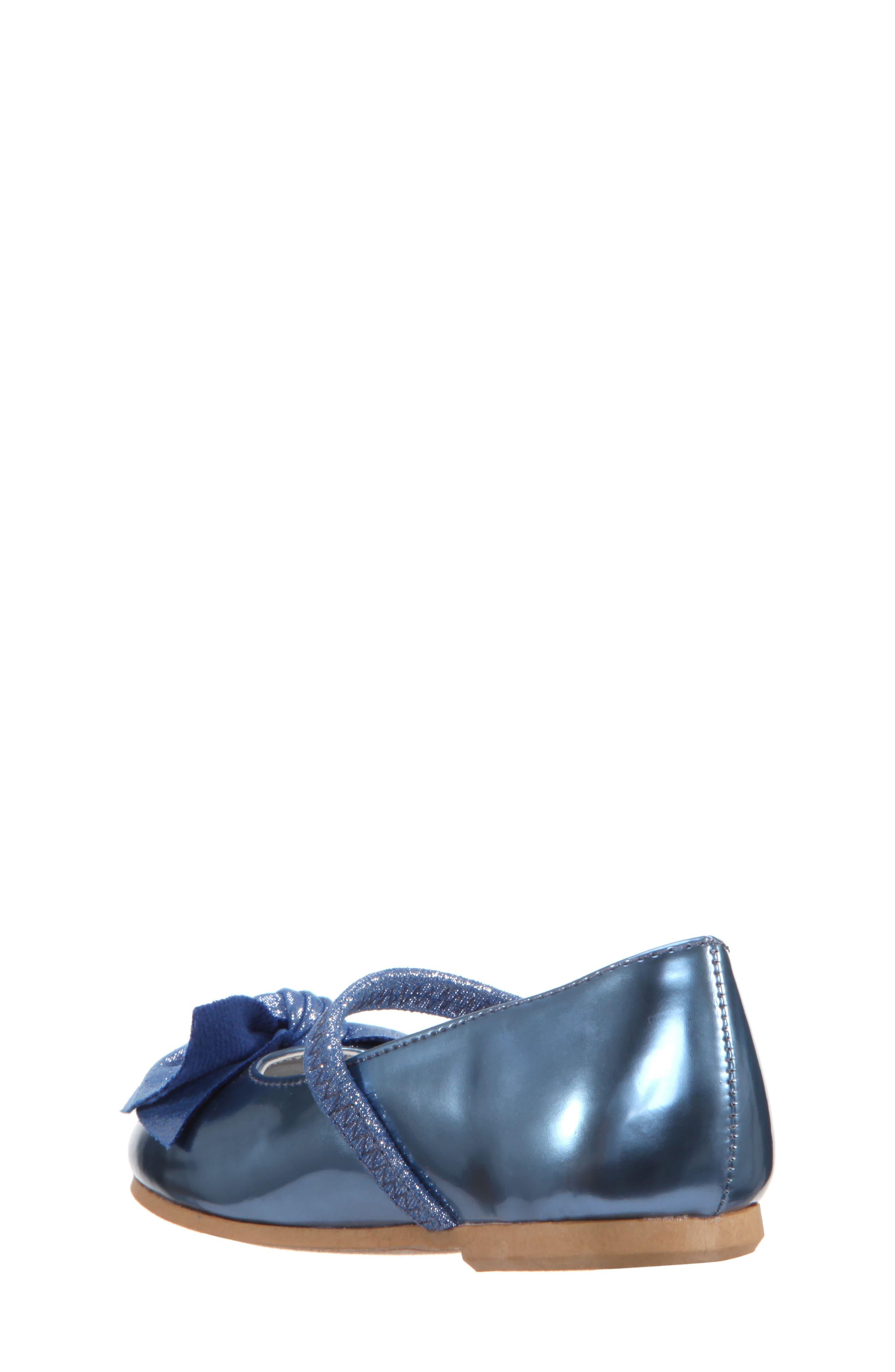 Kaytelyn-T Glitter Bow Ballet Flat,                             Alternate thumbnail 2, color,                             Blue Mirror Metallic