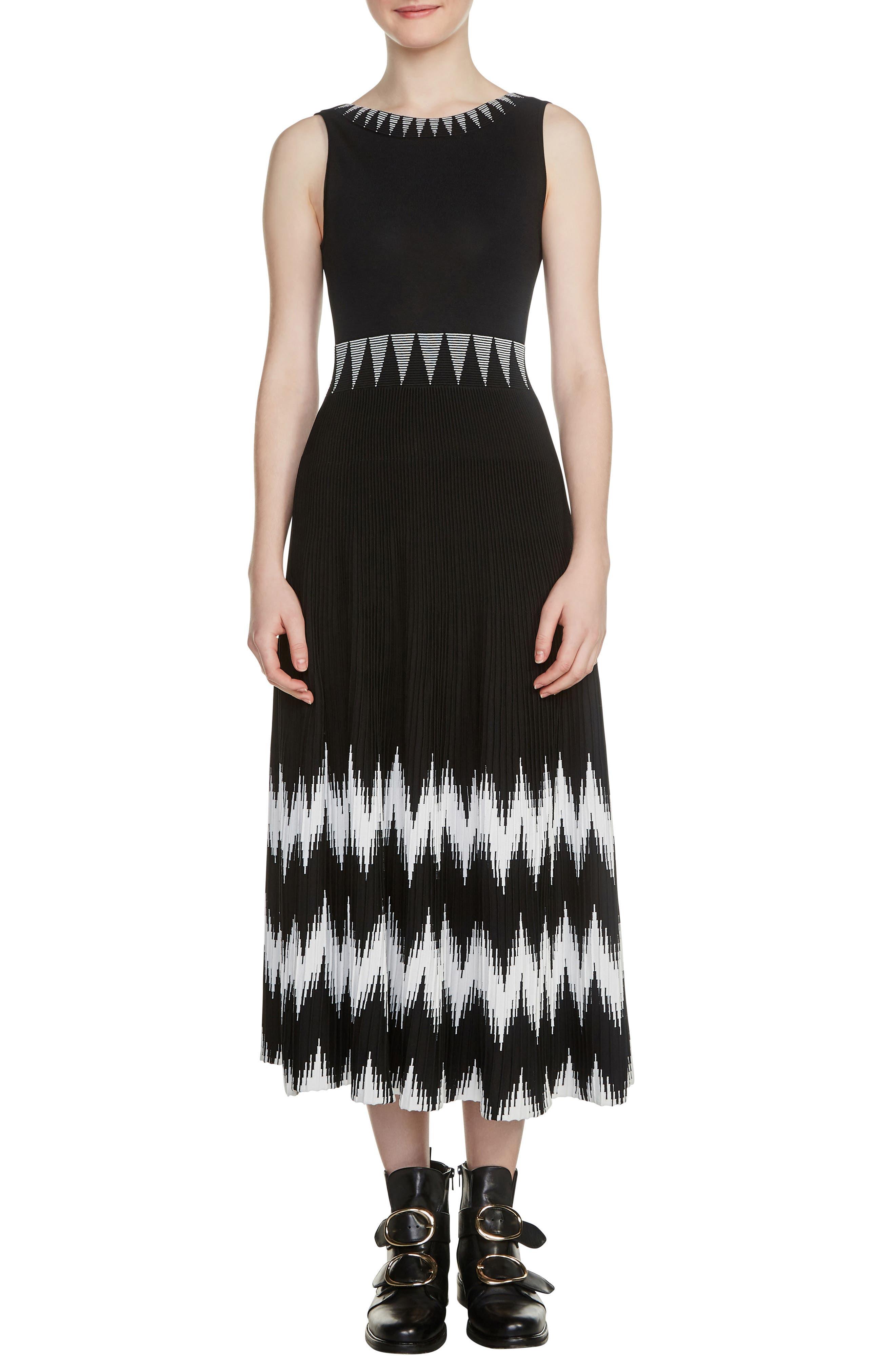 Ruche Midi Dress,                         Main,                         color, Black 210