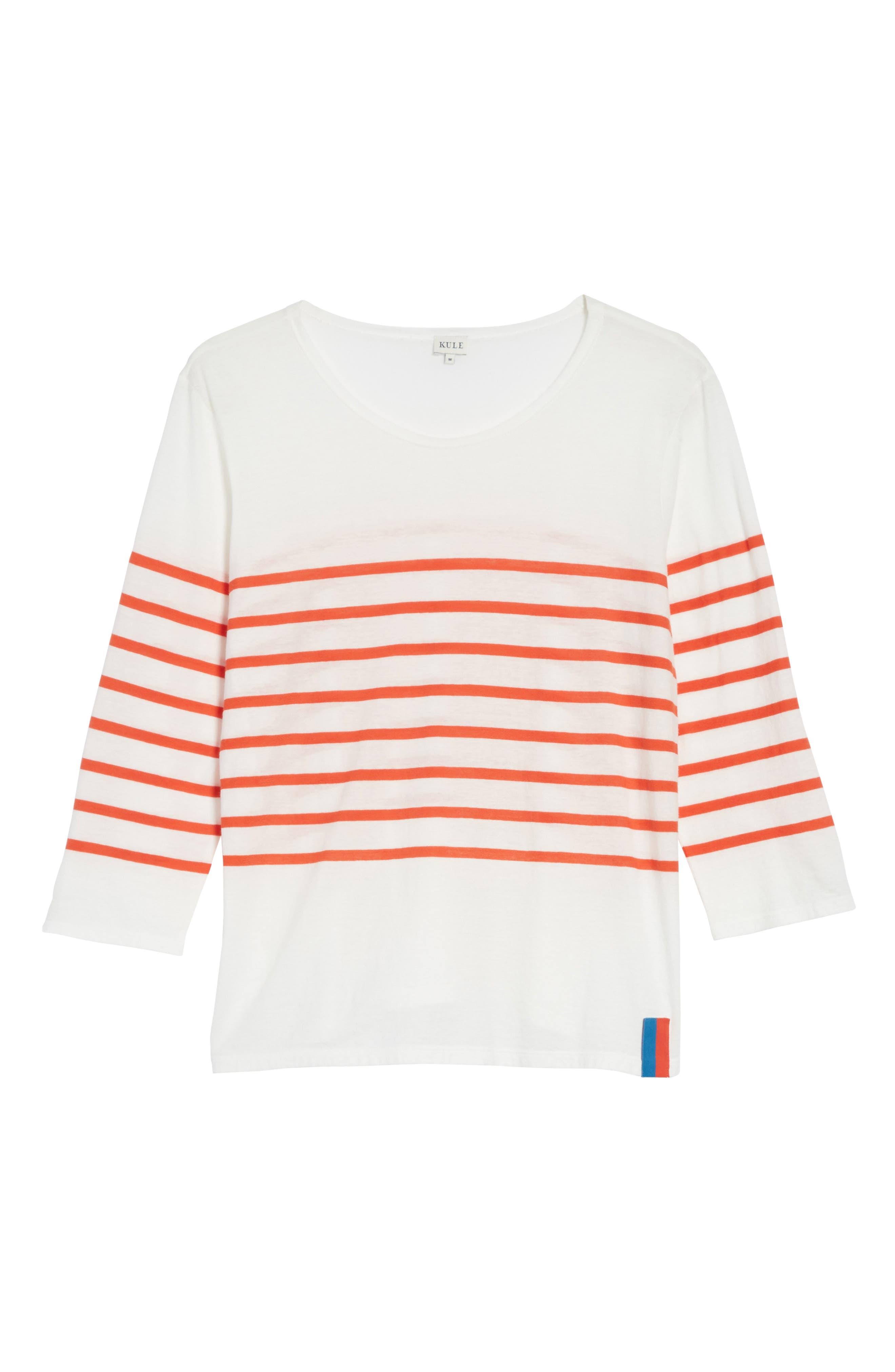 The Malibu Stripe Tee,                             Alternate thumbnail 6, color,                             White/ Poppy