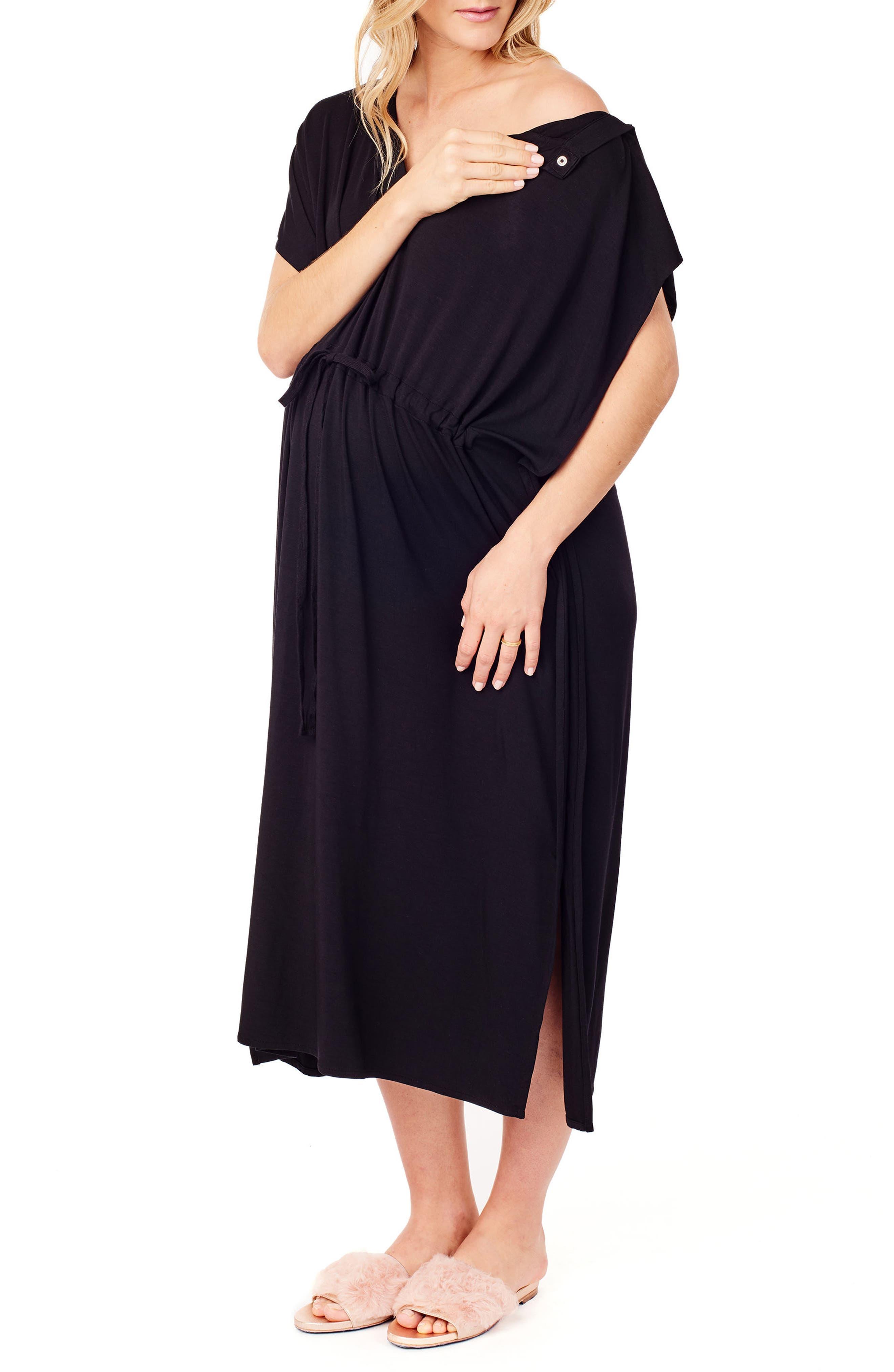 x James Fox & Co. Maternity/Nursing Hospital Gown,                             Alternate thumbnail 4, color,                             Jet Black