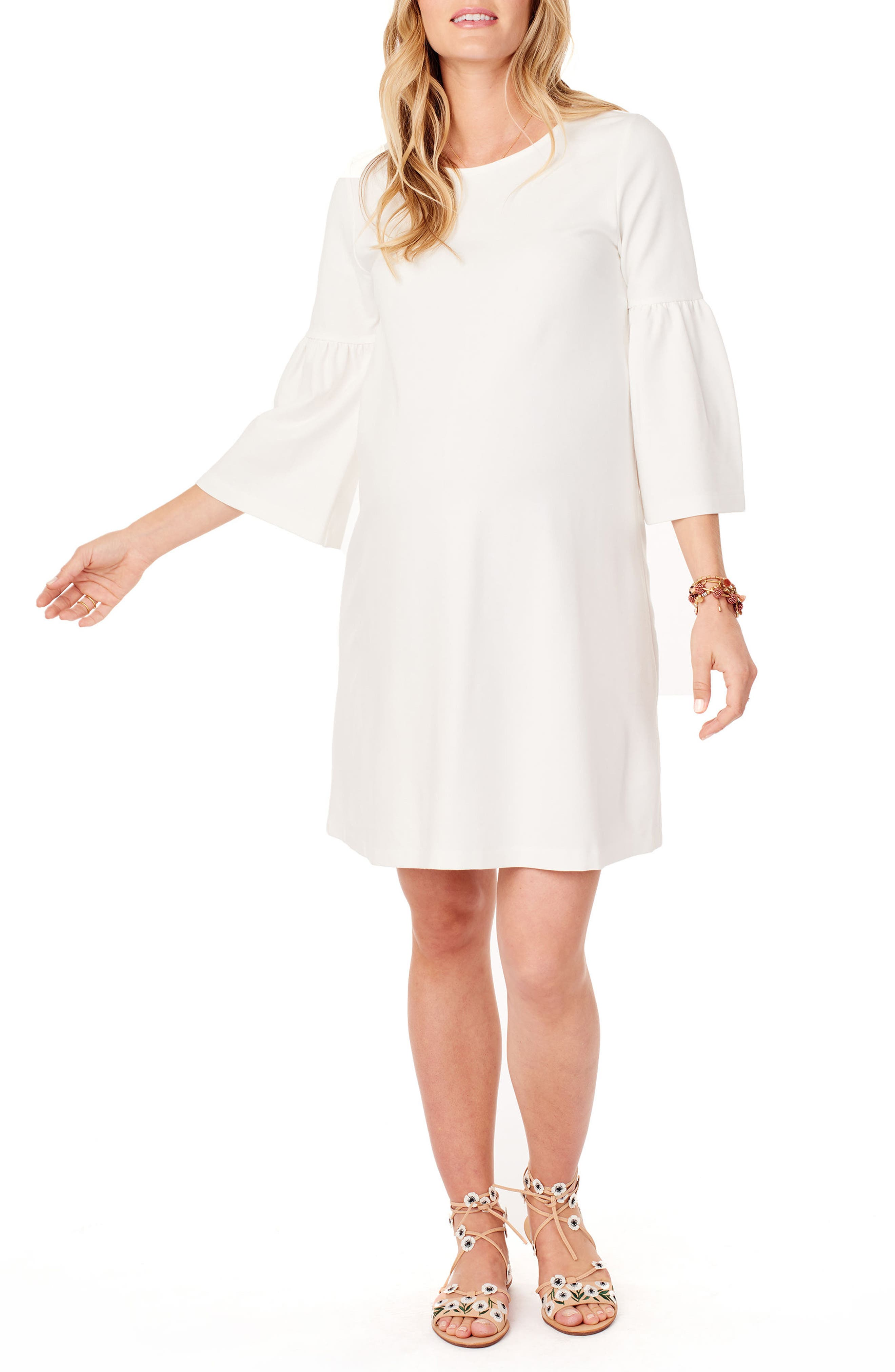 Ponte Knit Bell Sleeve Maternity Dress,                             Main thumbnail 1, color,                             Ivory
