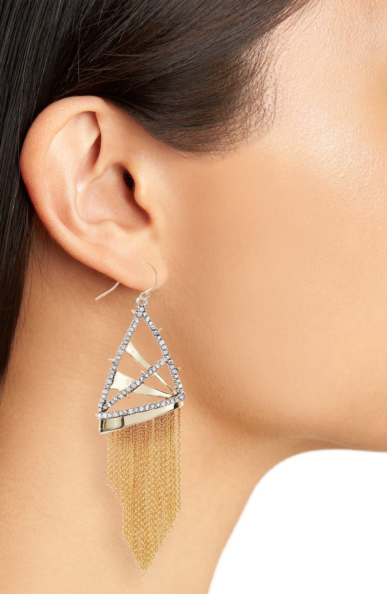 Chain Fringe Earrings,                             Alternate thumbnail 2, color,                             Gold