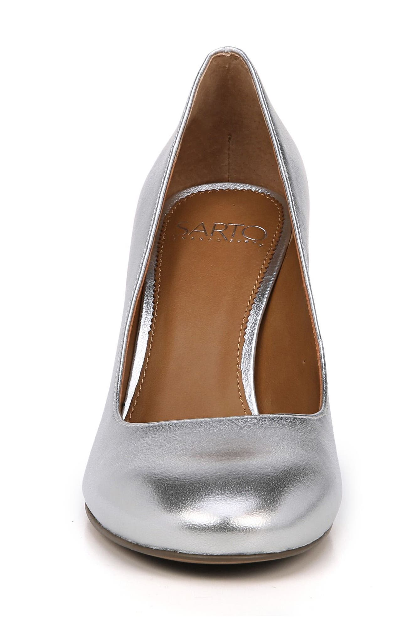Aziza Block Heel Pump,                             Alternate thumbnail 4, color,                             Silver Leather
