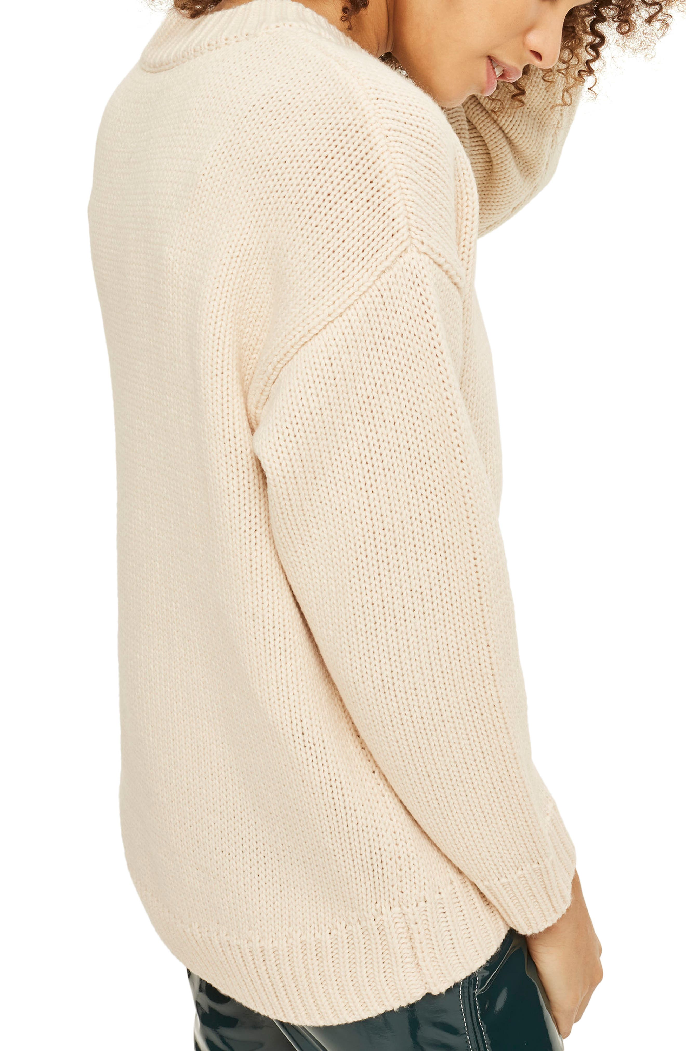 Tonal Embroidered Sweater,                             Alternate thumbnail 2, color,                             Cream