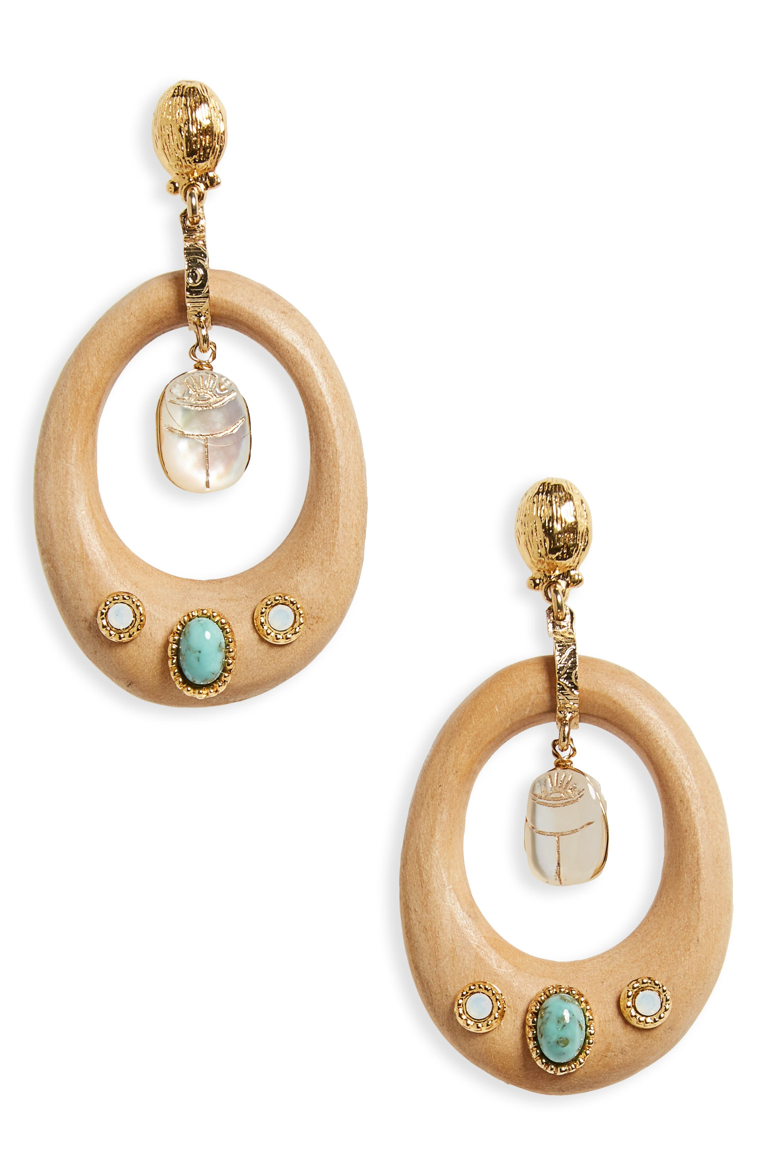 Woodstock Drop Earrings,                         Main,                         color, Brown/ Turquoise