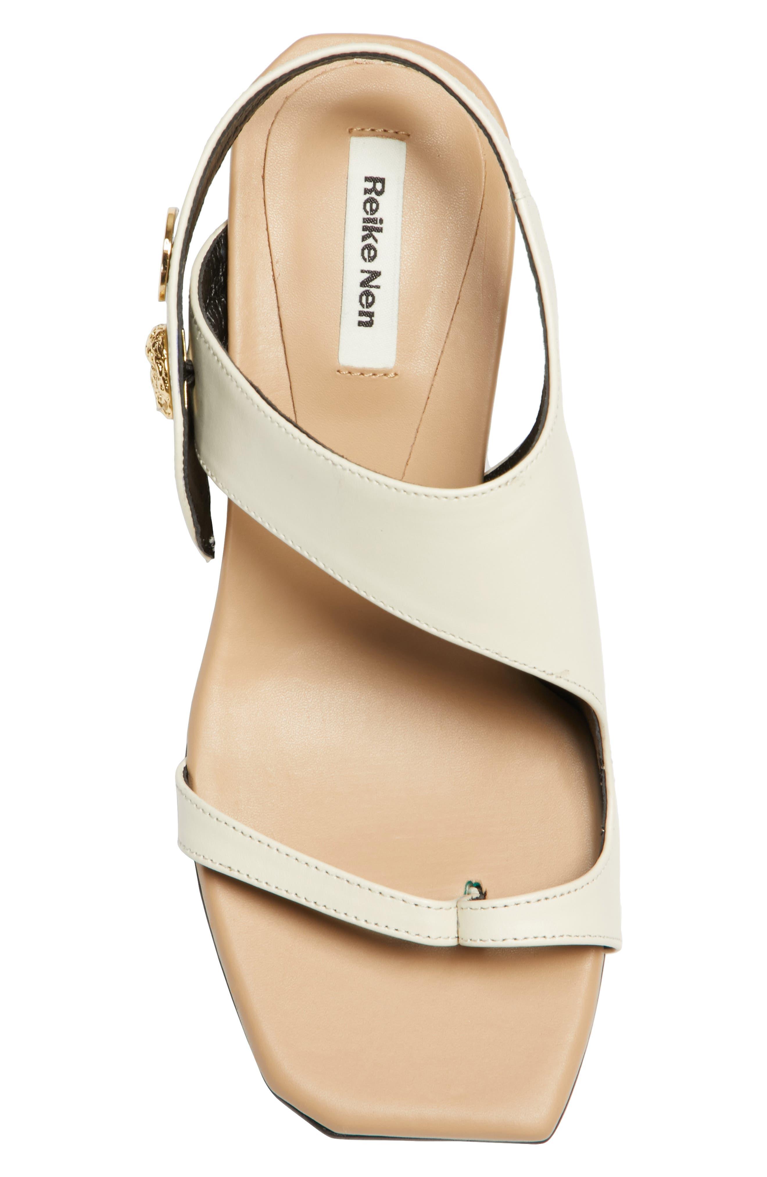 Embellished Leather Sandal,                             Alternate thumbnail 6, color,                             Beige Cream