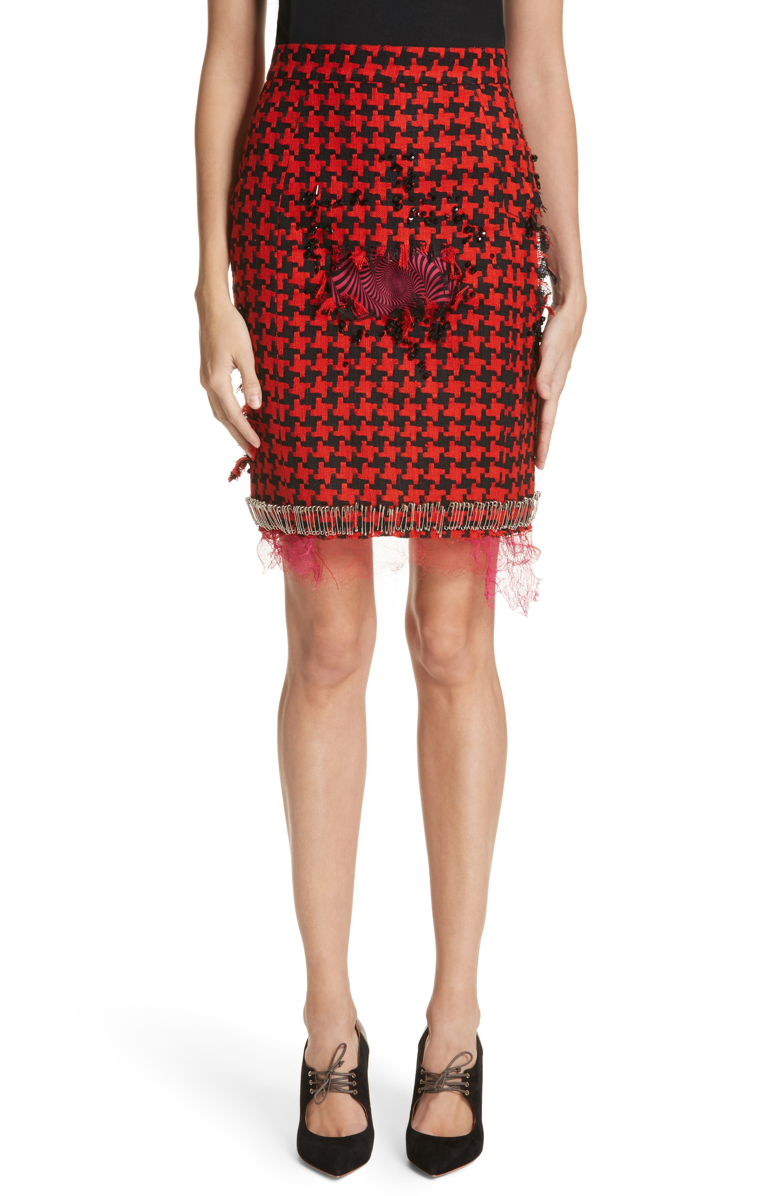 Prime Minister Houndstooth Wool Skirt,                         Main,                         color, Red