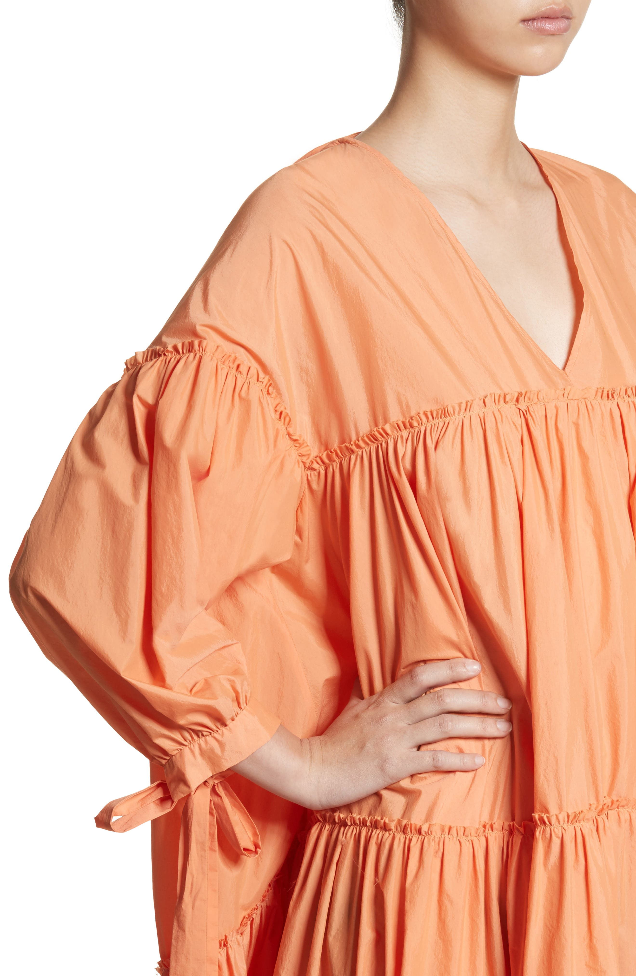 Sara Tiered Shift Dress,                             Alternate thumbnail 5, color,                             Cotton Orange